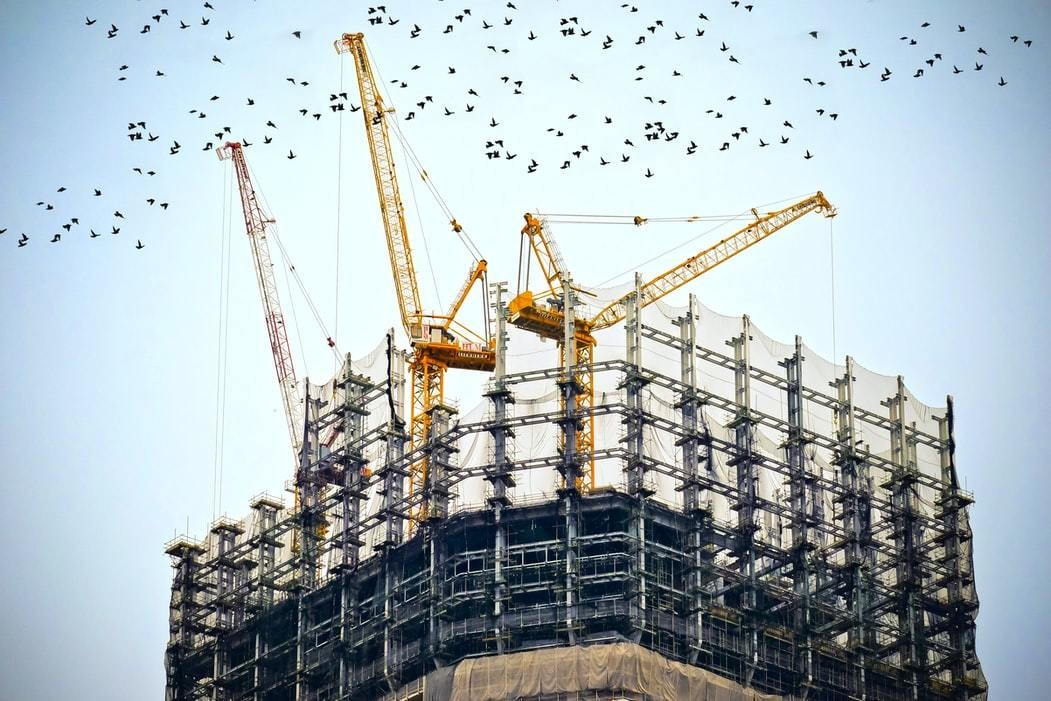 Large cranes work on a construction site as birds fly overhead