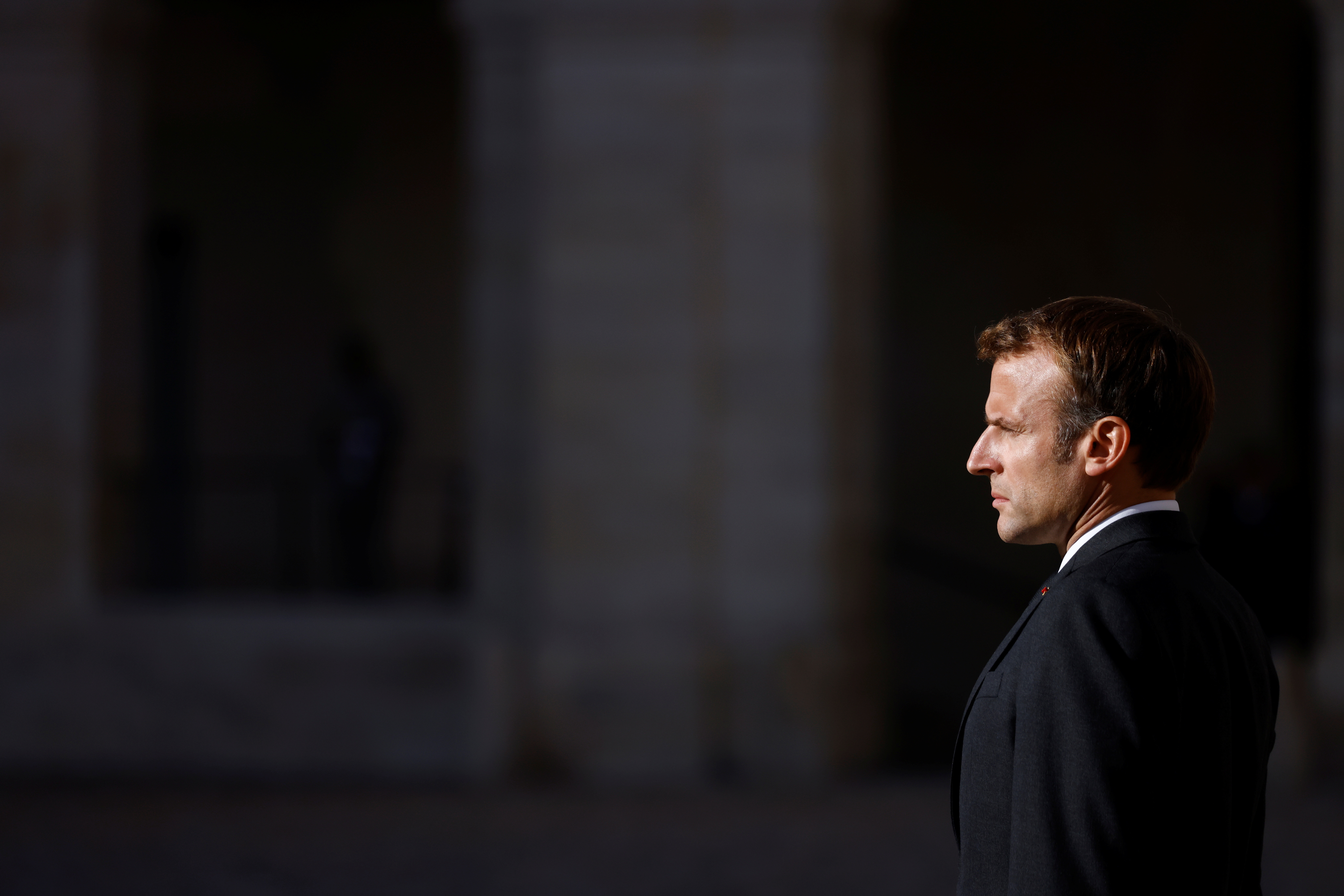 French President Emmanuel Macron attends a national ceremony for late Maxime Blasco, a French soldier killed in Mali militant clash, at the Invalides in Paris, France, September 29, 2021. REUTERS/Stephane Mahe/Pool - RC2RZP9FFV8D