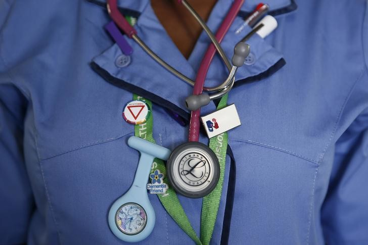 image of a nurse wearsing a watch and stethoscope at St Thomas' Hospital in central London