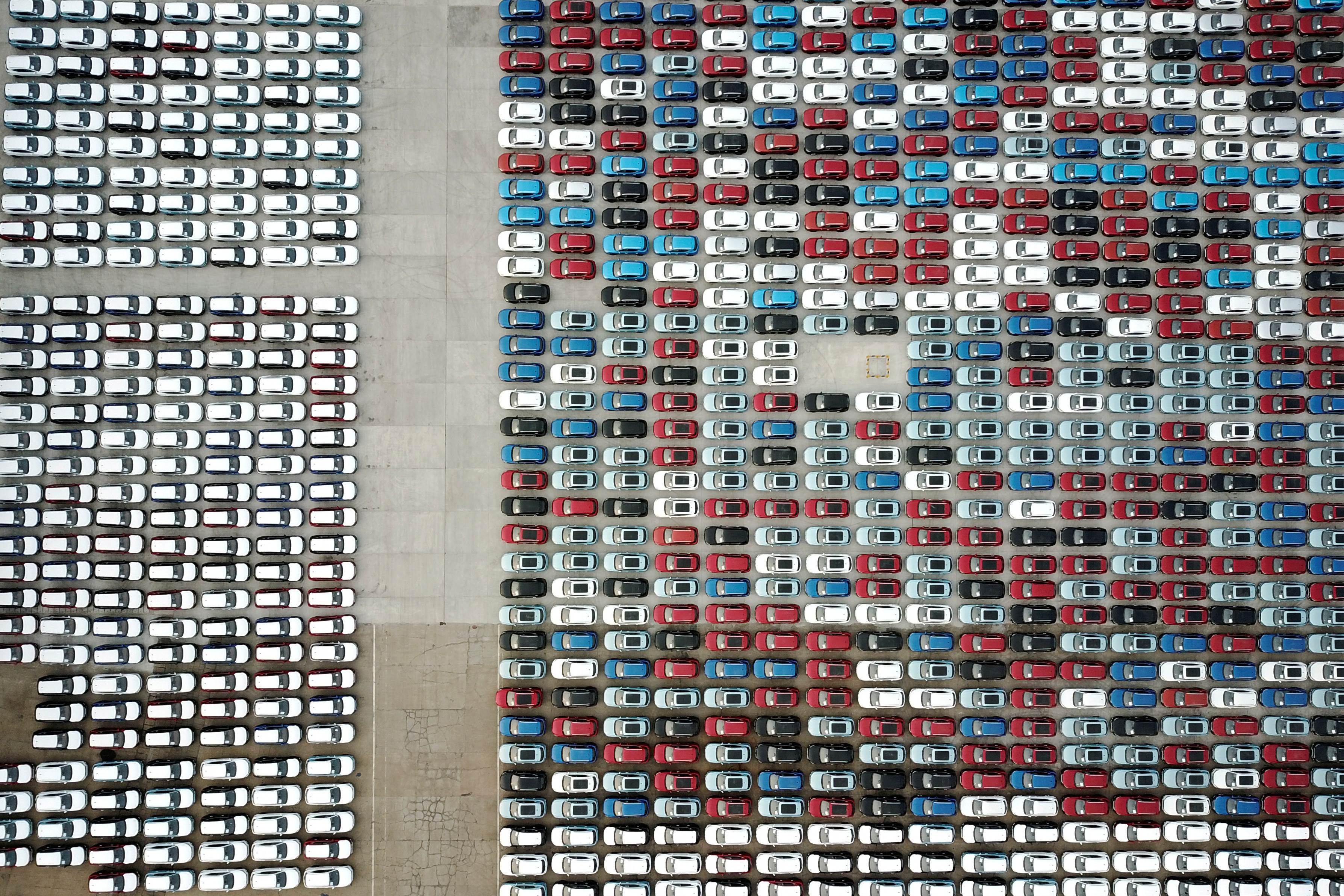 Cars for export are seen at a port in Lianyungang, Jiangsu province, China April 2, 2020. China Daily via REUTERS  ATTENTION EDITORS - THIS IMAGE WAS PROVIDED BY A THIRD PARTY. CHINA OUT.     TPX IMAGES OF THE DAY - RC29WF9AWJS0