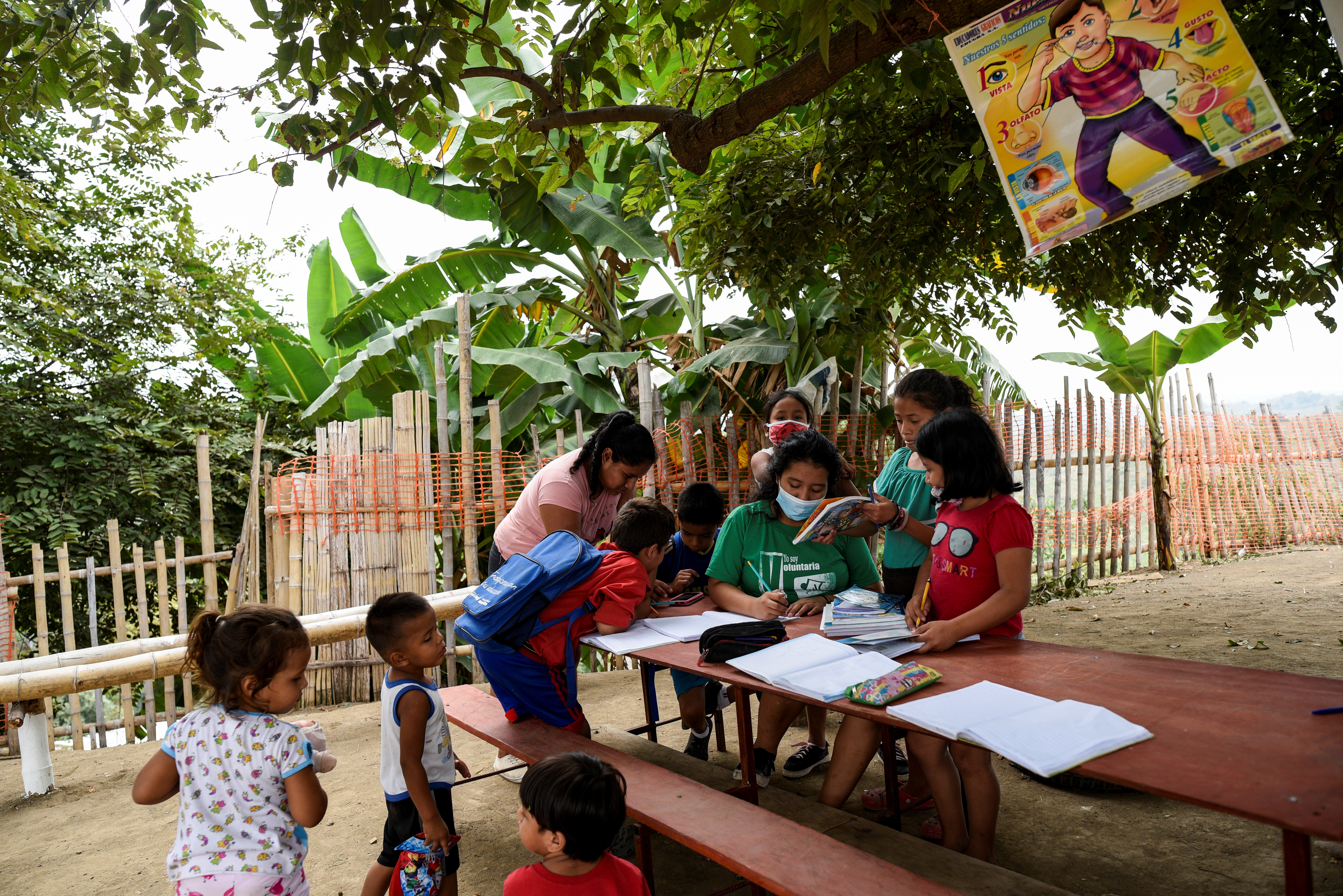 Denisse Toala (C), a 16-year-old student, teaches children in an improvised school she has set up under a tree since they have been unable to attend virtual classes in the low-income neighbourhood Realidad de Dios, during the outbreak of the coronavirus disease (COVID-19), in Guayaquil, Ecuador July 2, 2020. Picture taken July 2, 2020. REUTERS/Santiago Arcos - RC26TH9RALAO