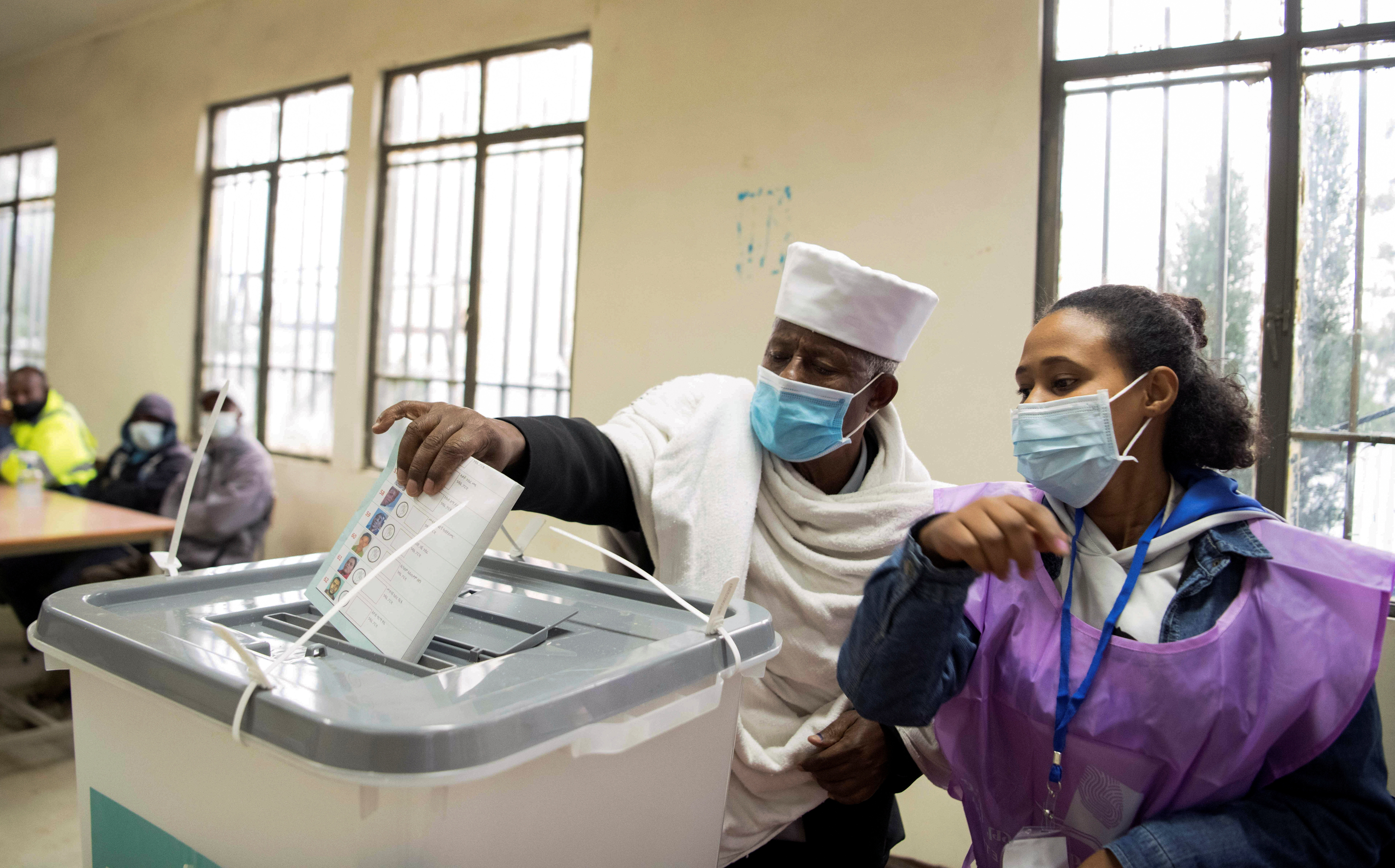 A man casts his ballot during the Ethiopian parliamentary and regional elections.