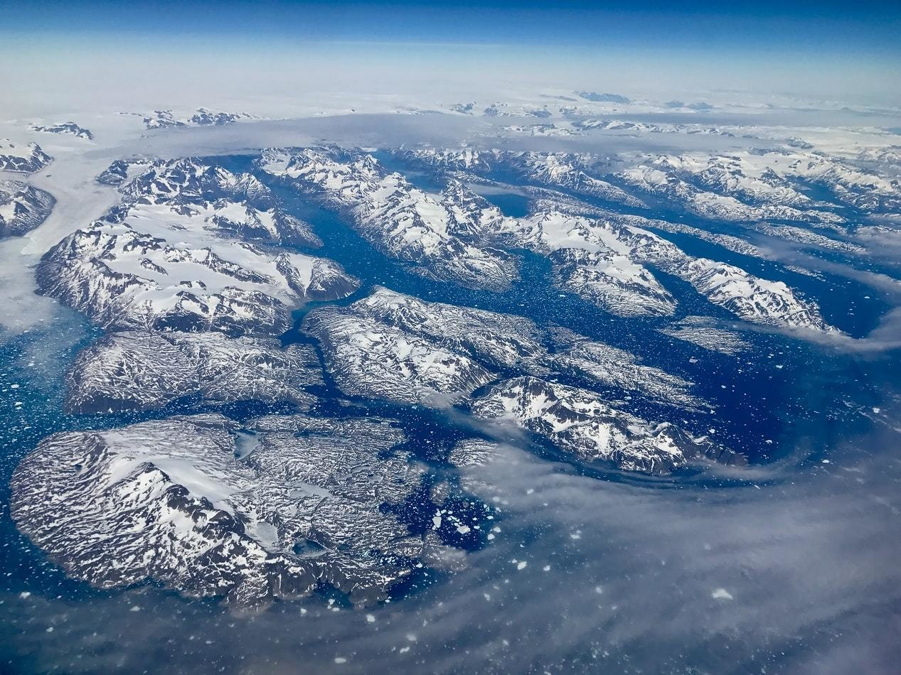 A photo of Greenland glaciers.