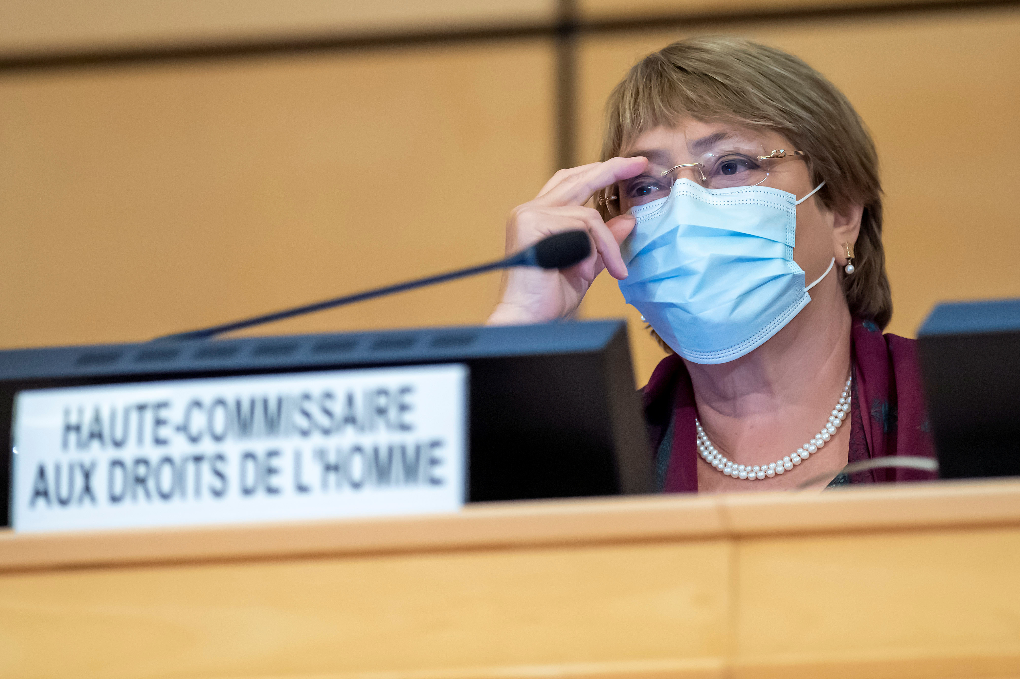 United Nations' High Commissioner for Human Rights Michelle Bachelet during a United NAtions Conference on Human Rights