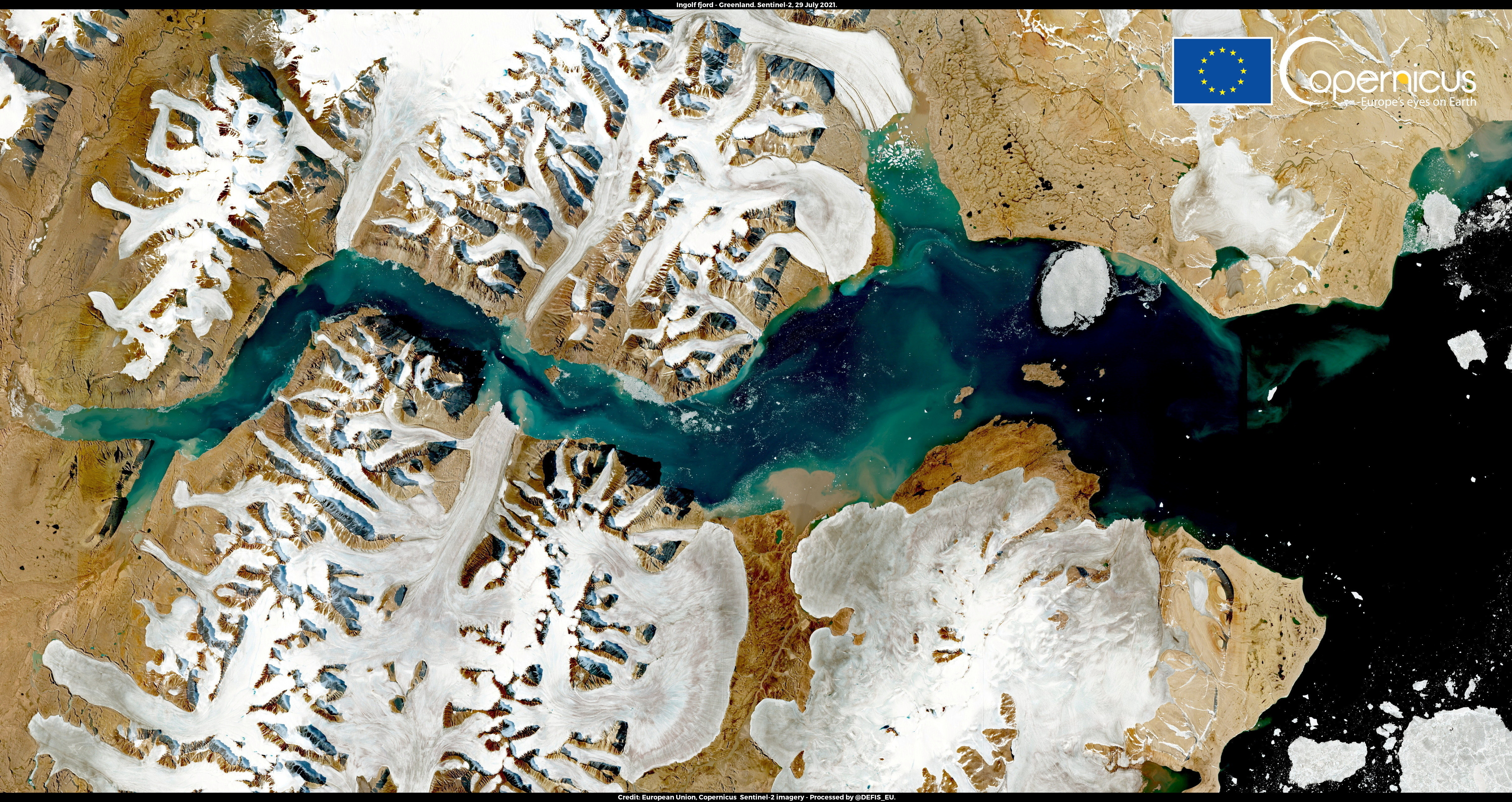 A satellite image shows Ingolf Fjord, Greenland July 29, 2021.