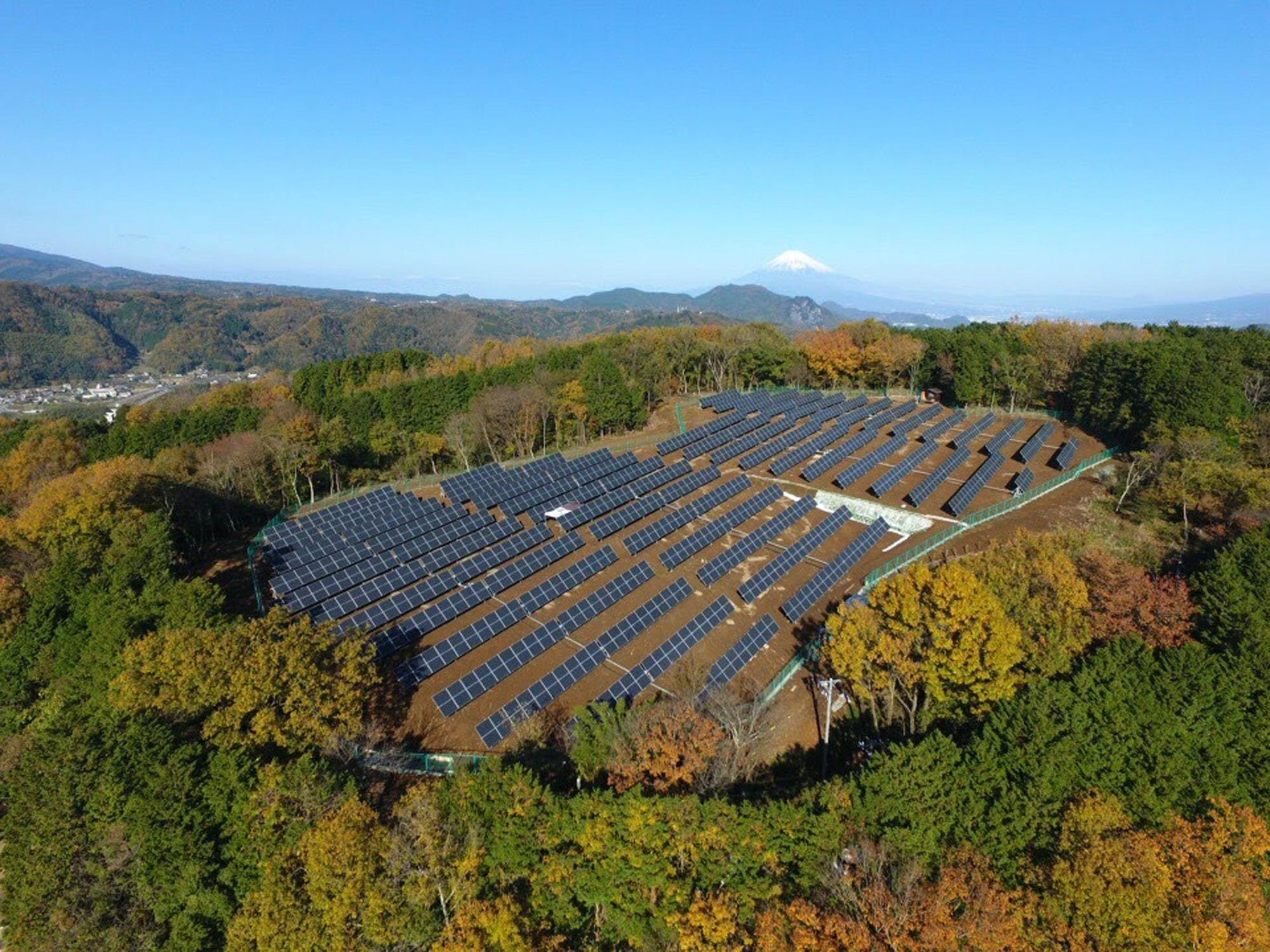 Solar plant in Japan, Mount Fuji in the distance