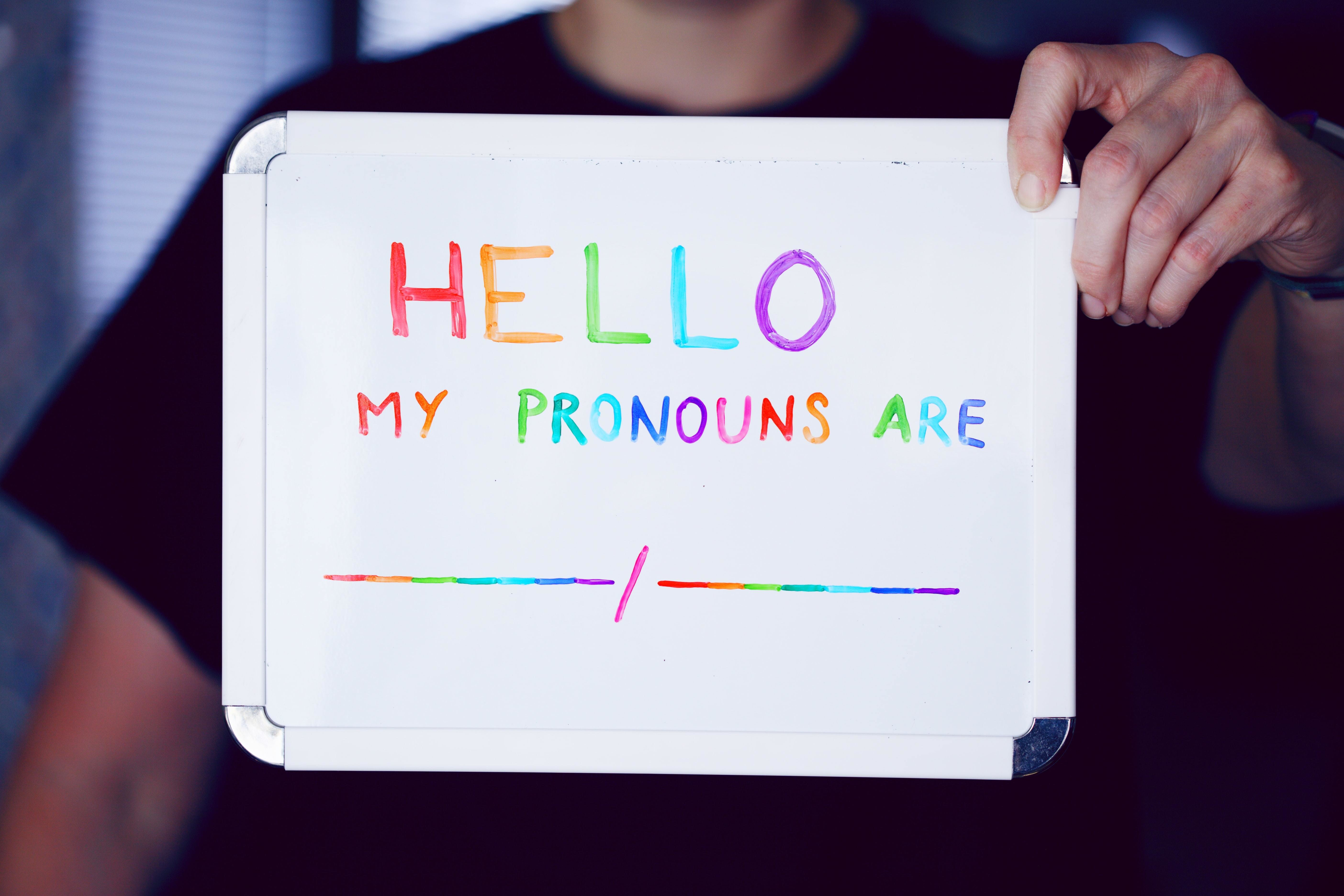 a picture of a person holding up a sign telling people what pronouns they prefer to use