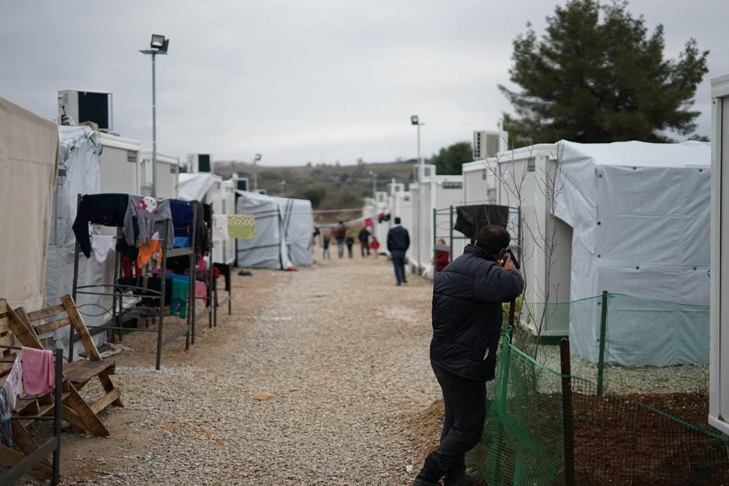 A photo of a refugee camp.