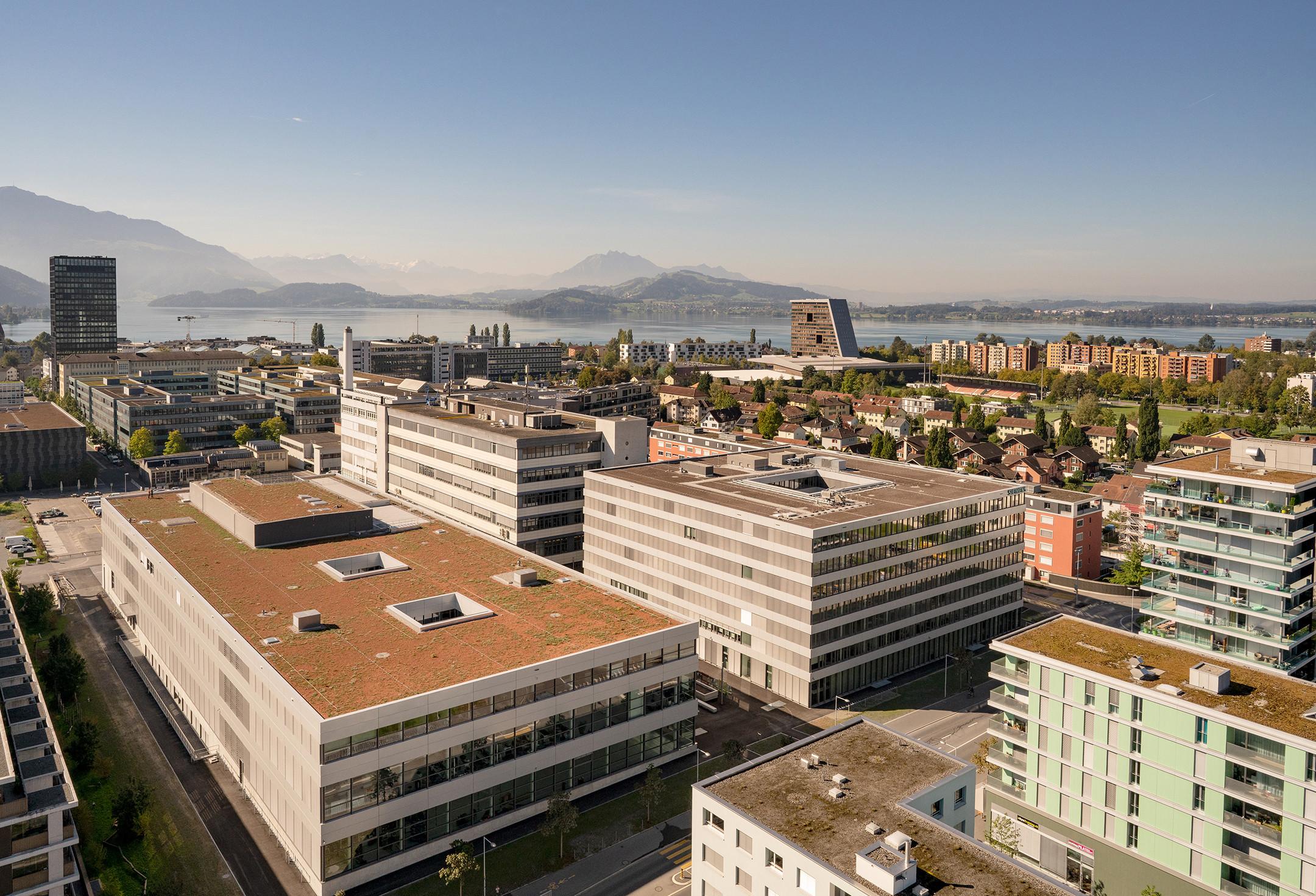 A photo of Siemens' campus in Zug, Switzerland