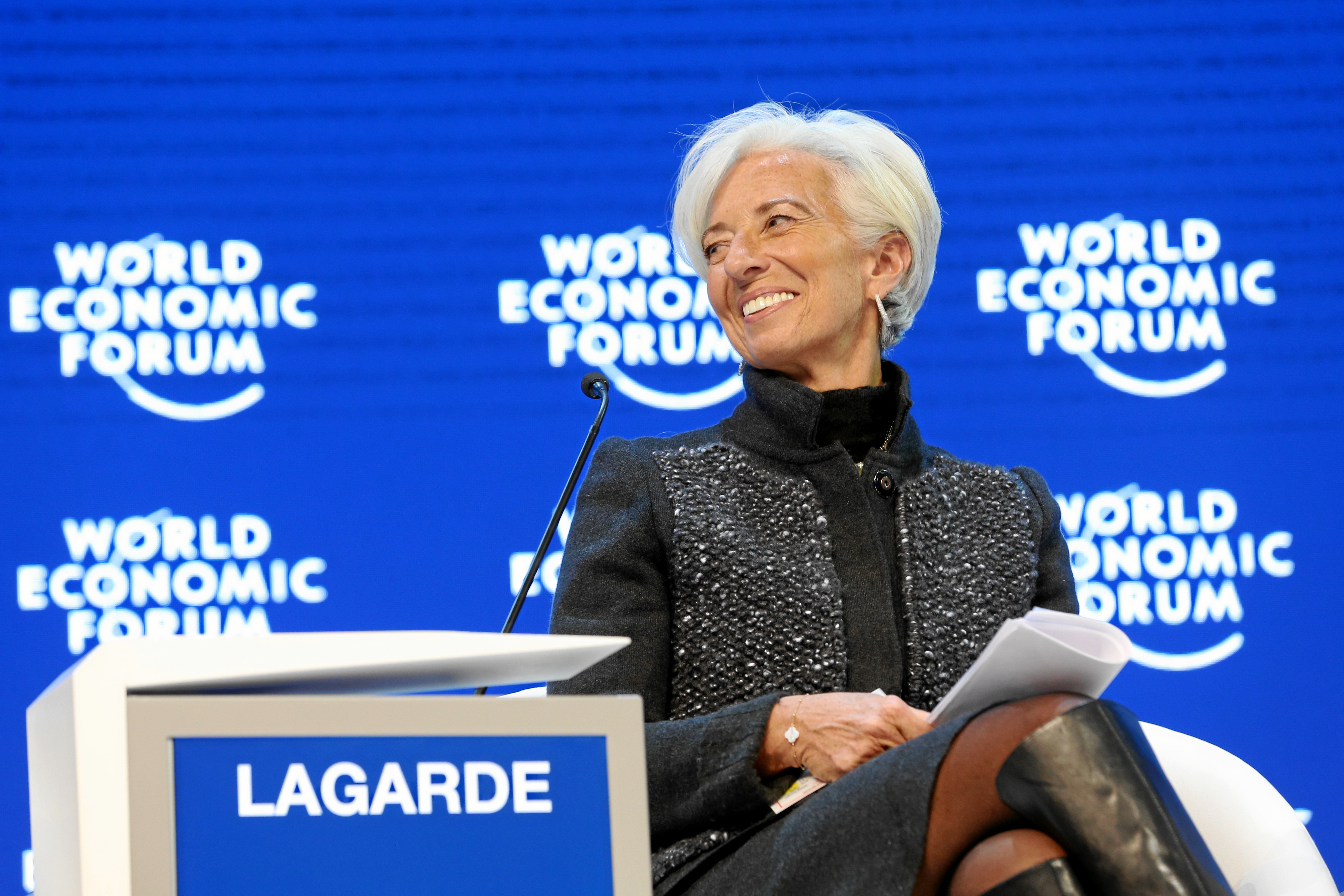 Christine Lagarde smiles during the World Economic Forum Annual Meeting 2016 in Davos, Switzerland, January 23, 2016.