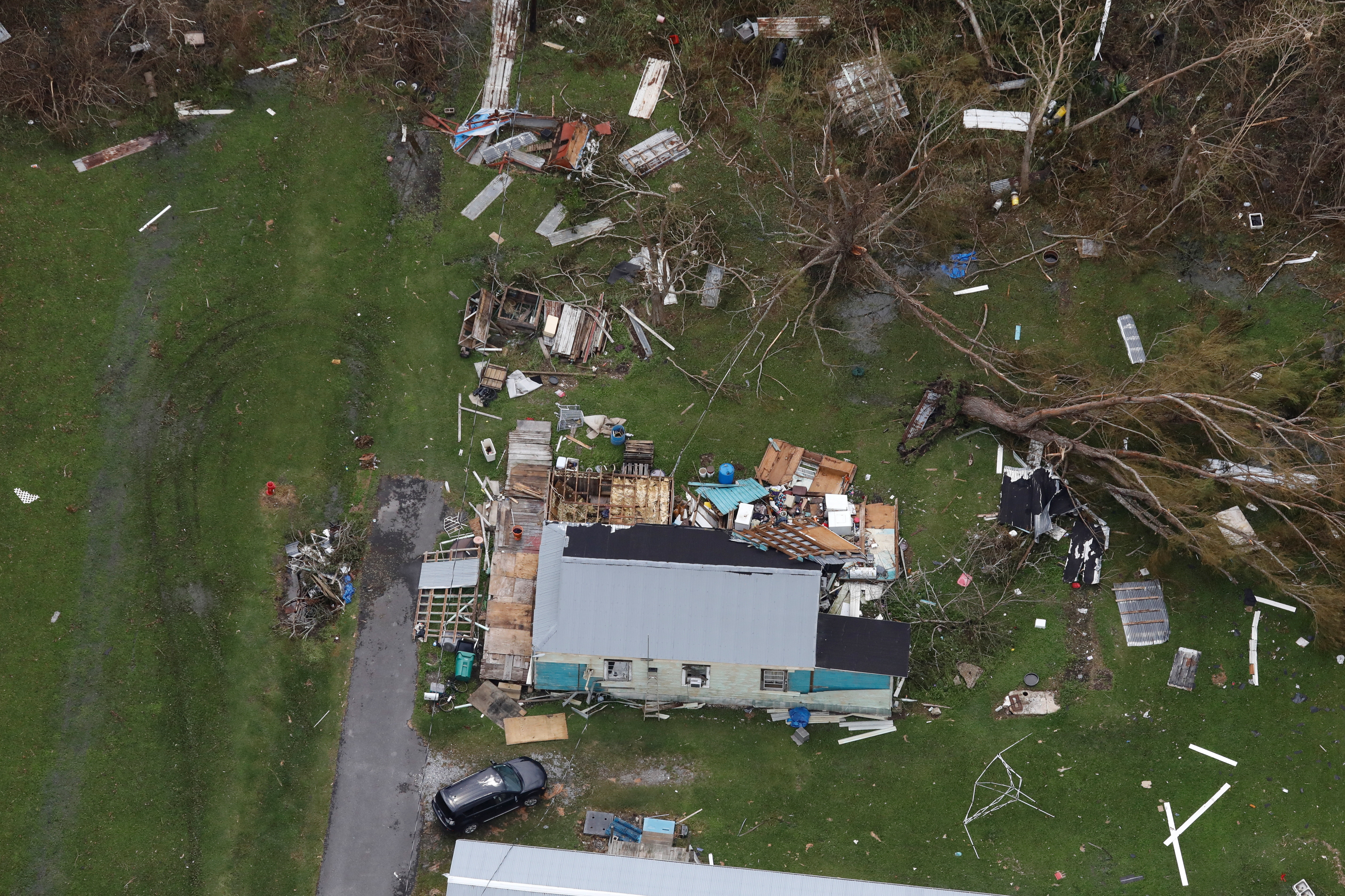 an aerial view shows destroyed houses after Hurricane Ida made landfall in Louisiana, in Cut Off, Louisiana U.S. August 31, 2021