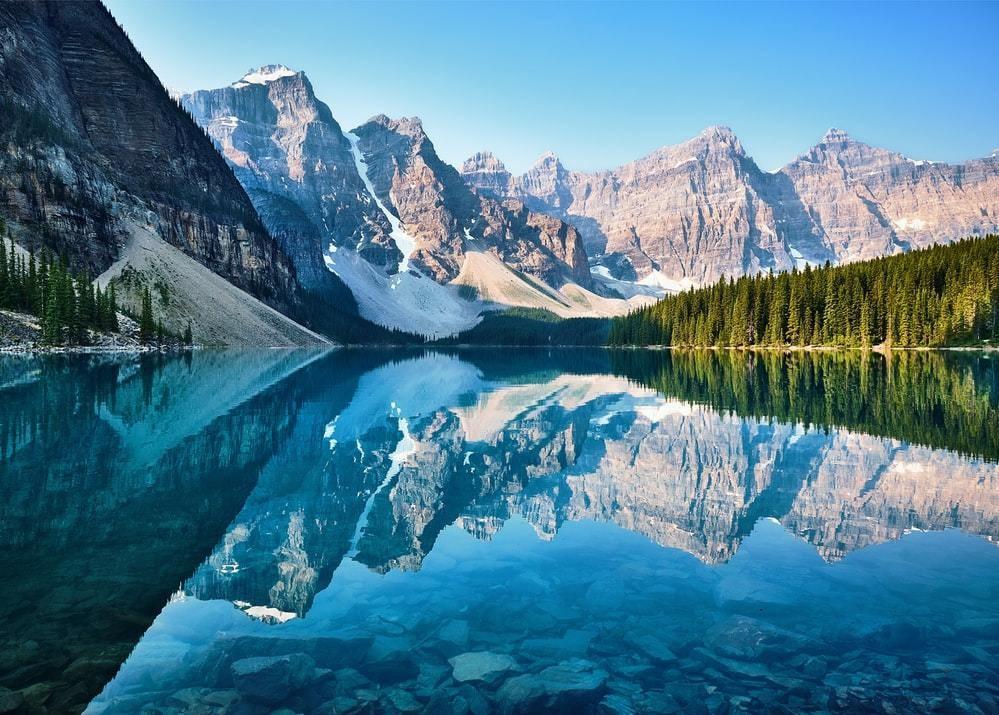 A photo of Moraine Lake in Canada.