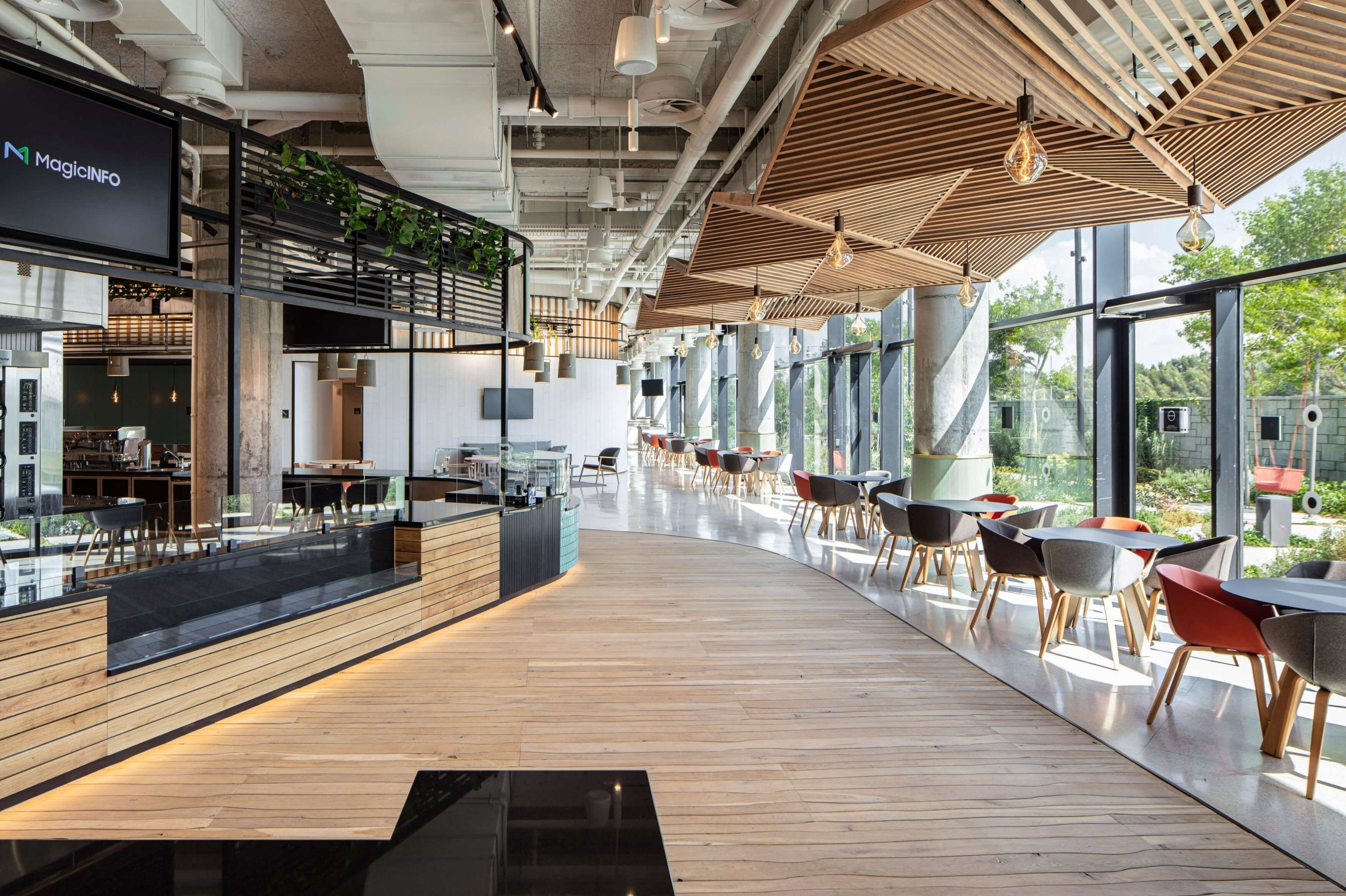 a photograph of the canteen at microsoft's new office