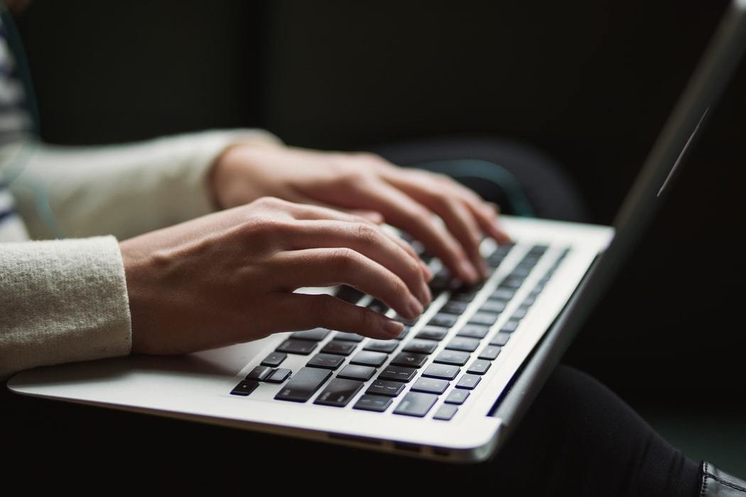 image of woman typing