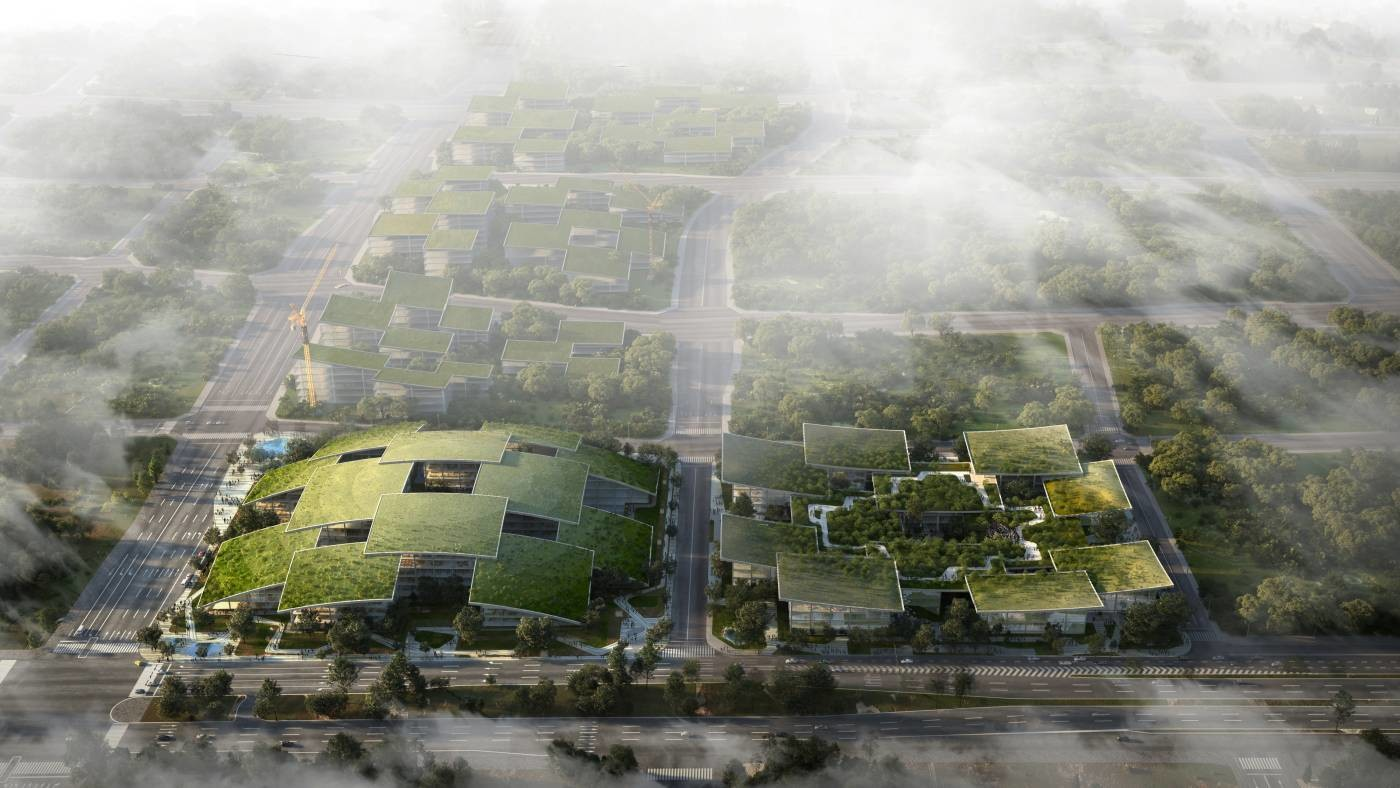 A rendering of Cloud City a smart city project in Chongqing, China.