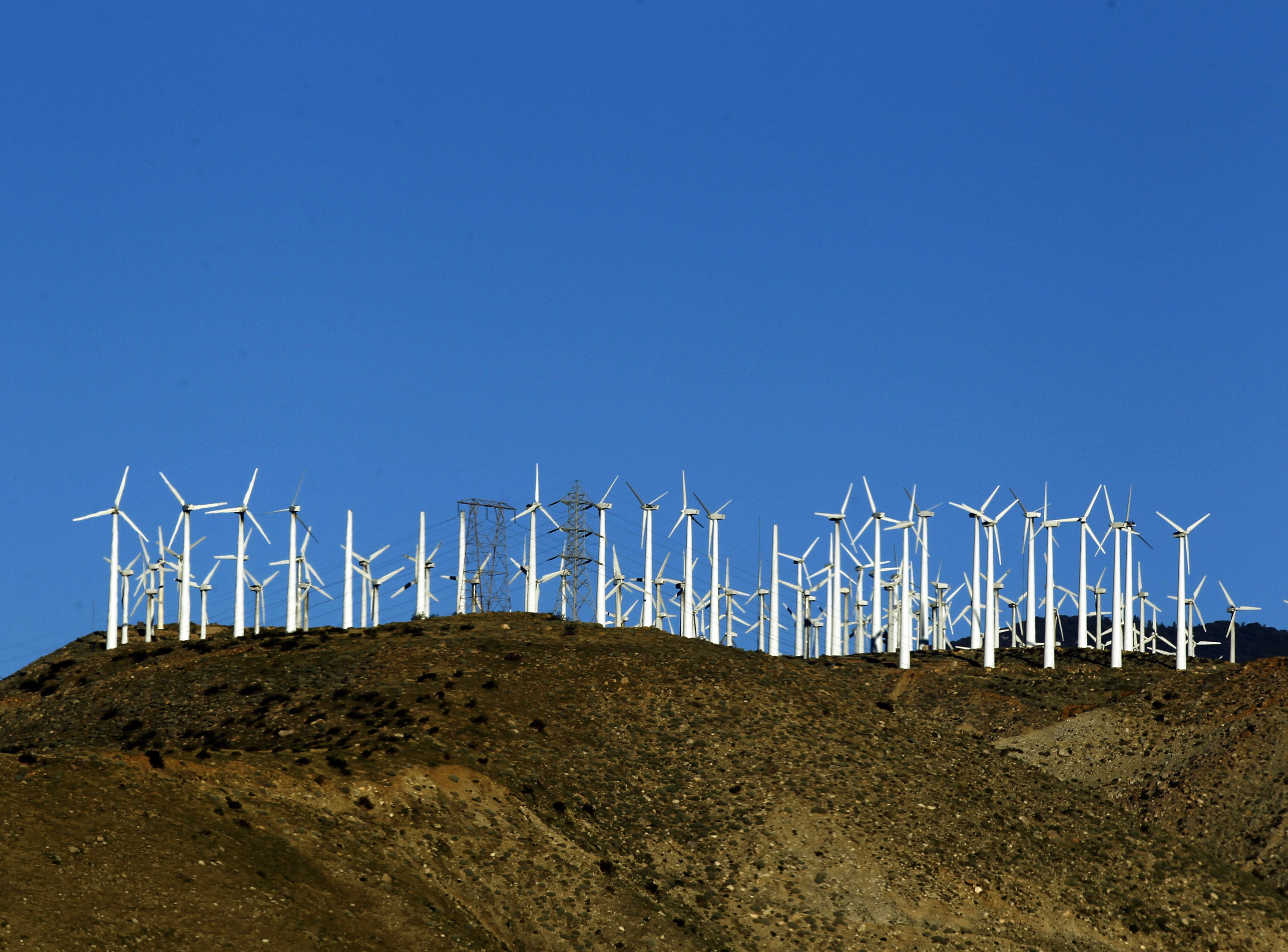 Windmills are seen at a wind farm in Palm Springs, California, February 9, 2011. California aims to slow climate change by putting a price on carbon -- a low, low starting price. The program is the last, keystone step in a controversial half-decade push to green the state's business for the good of the planet and the economy.  Picture taken February 9, 2011.  To match Special Report CARBON-CALIFORNIA/    REUTERS/Lucy Nicholson (UNITED STATES - Tags: ENERGY ENVIRONMENT) - GM1E72H1RPZ01