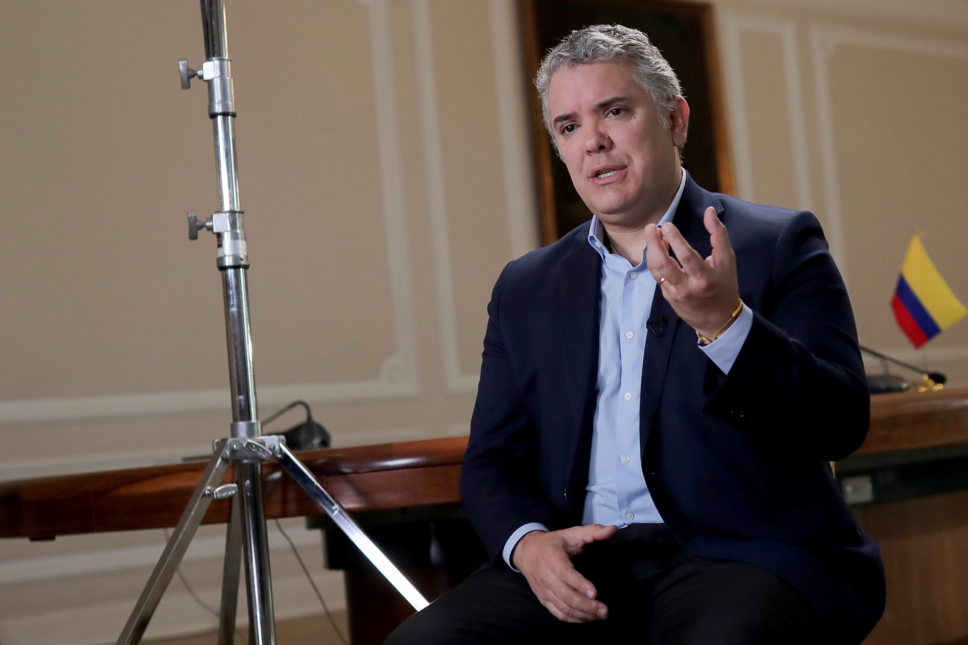 Colombia's President Ivan Duque speaks during an interview with Reuters, amid the outbreak of the coronavirus disease (COVID-19), in Bogota, Colombia June 26, 2020. REUTERS/Luisa Gonzalez - RC27HH9UBSME