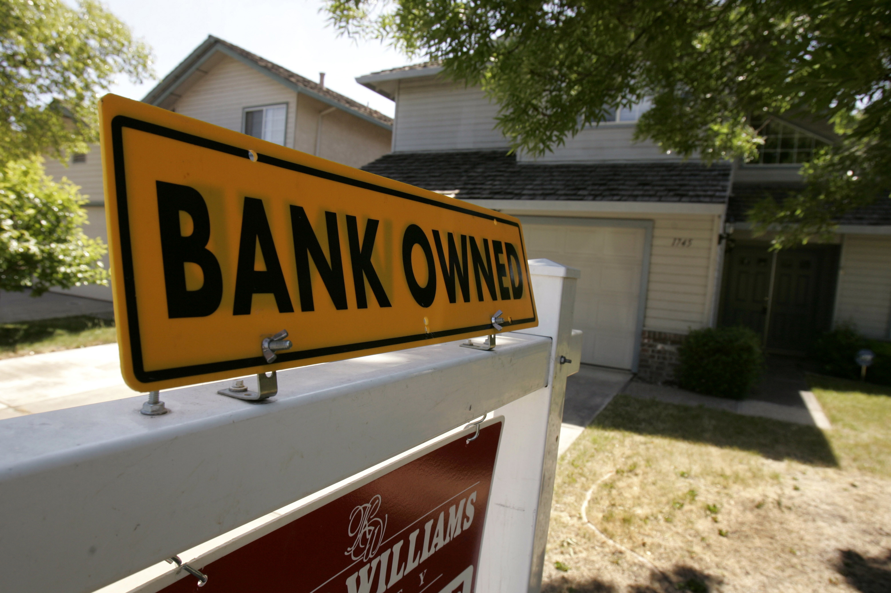 A foreclosed home is shown in Stockton, California