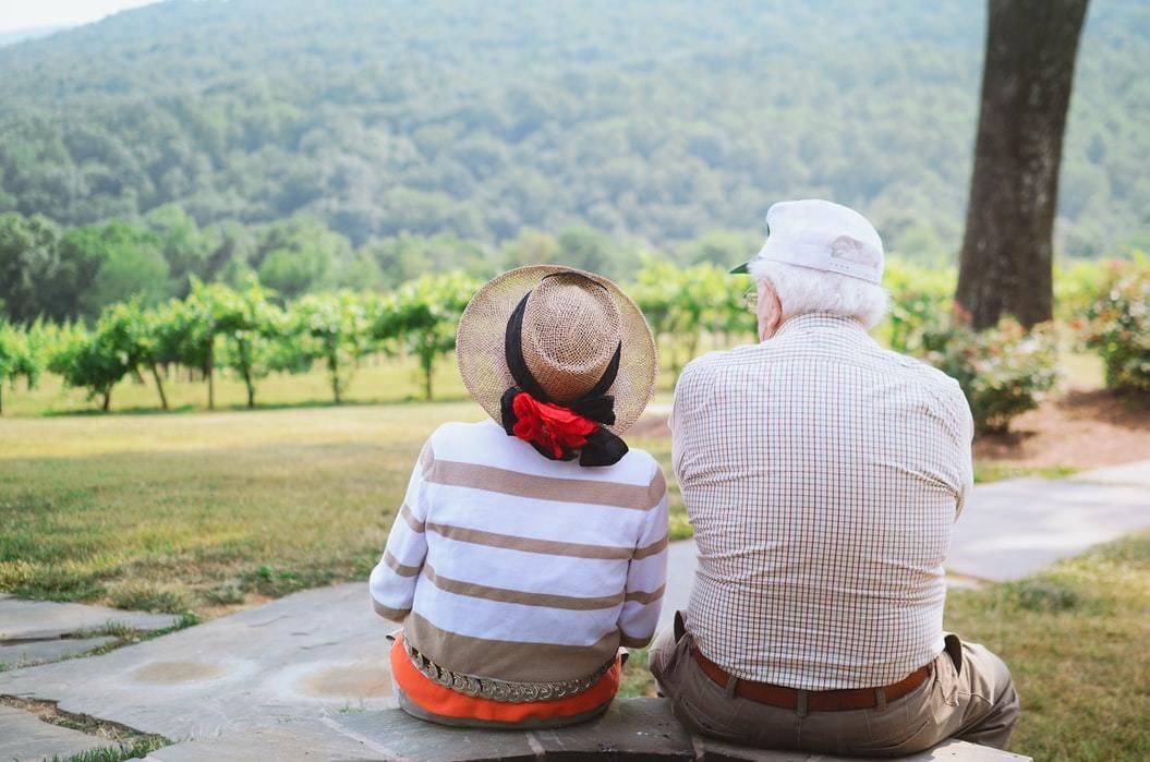 Older couple seen in vineyard.