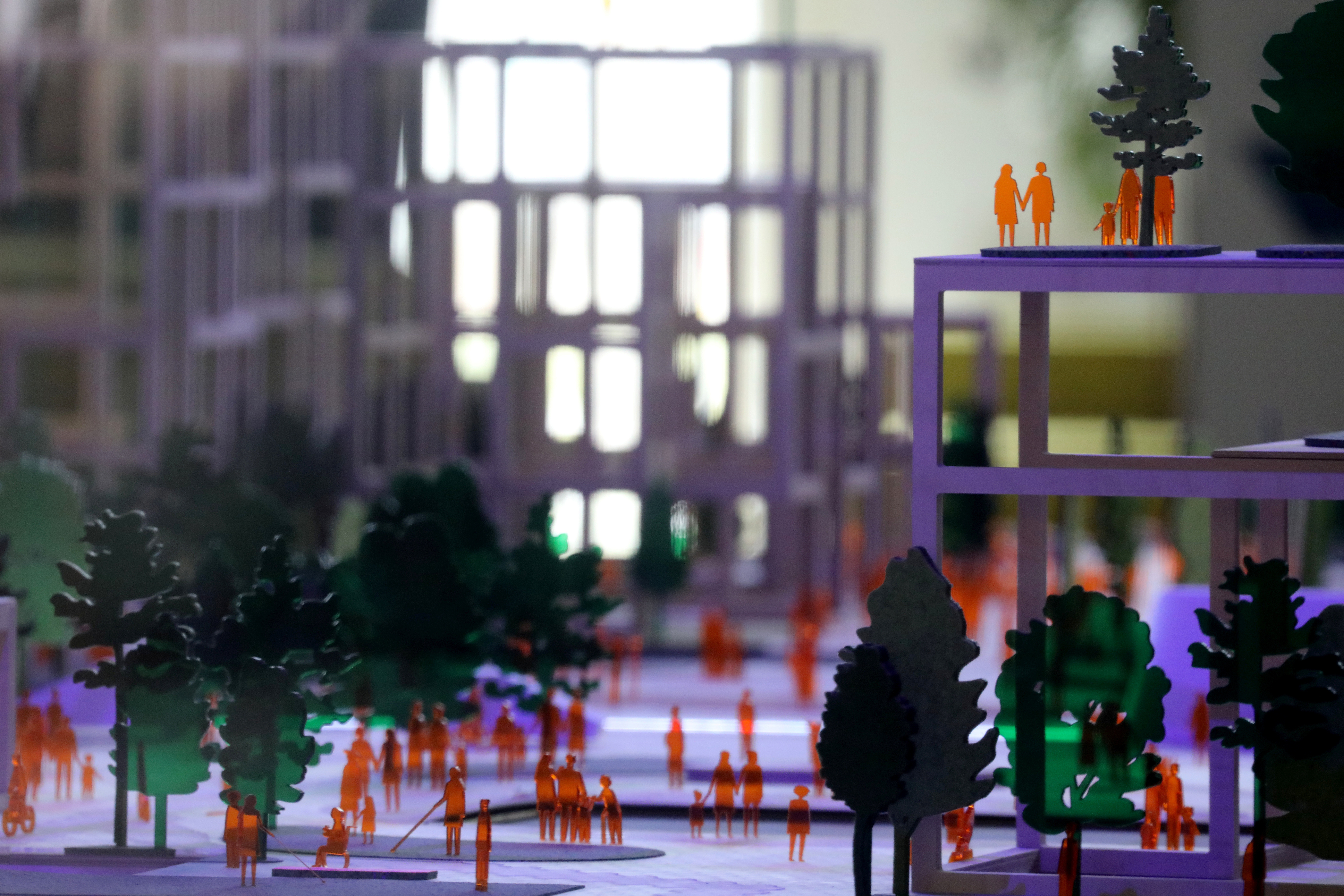 """Building models are seen at the offices of Alphabet's Sidewalk Labs """"smart city"""" after the company announced it has pulled out of its project due to economic uncertainty in Toronto, Ontario, Canada May 7, 2020.  REUTERS/Chris Helgren - RC2VJG91RKAK"""
