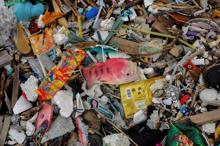A plastic fish toy is pictured among sachets of various products on a trash-filled shore on Freedom Island, Paranaque City, Metro Manila, Philippines, July 15, 2019. Picture taken July 15, 2019. REUTERS/Eloisa Lopez