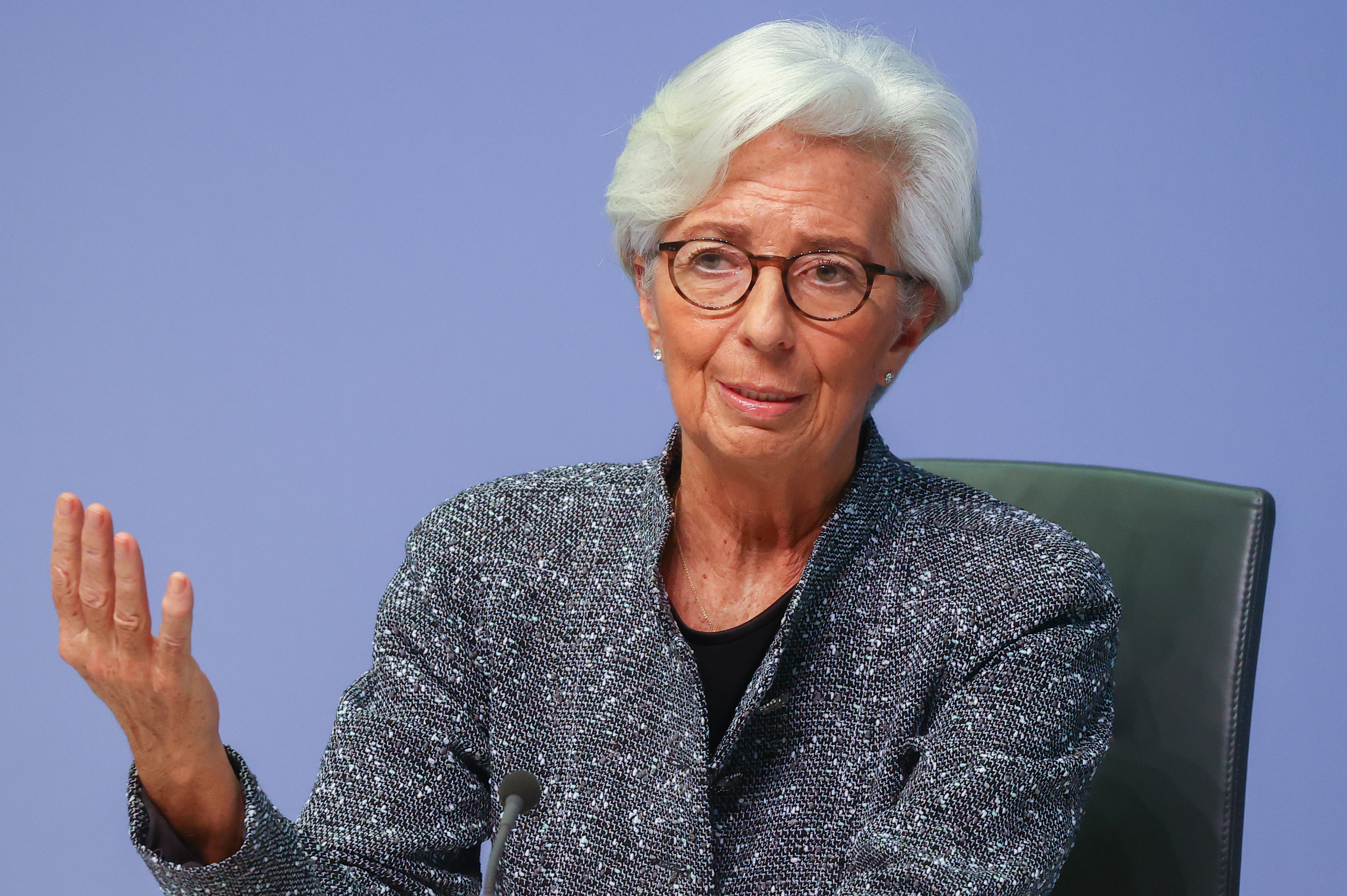 European Central Bank (ECB) President Christine Lagarde gestures as she addresses a news conference on the outcome of the meeting of the Governing Council, in Frankfurt, Germany, March 12, 2020. REUTERS/Kai Pfaffenbach - RC2EIF93851P