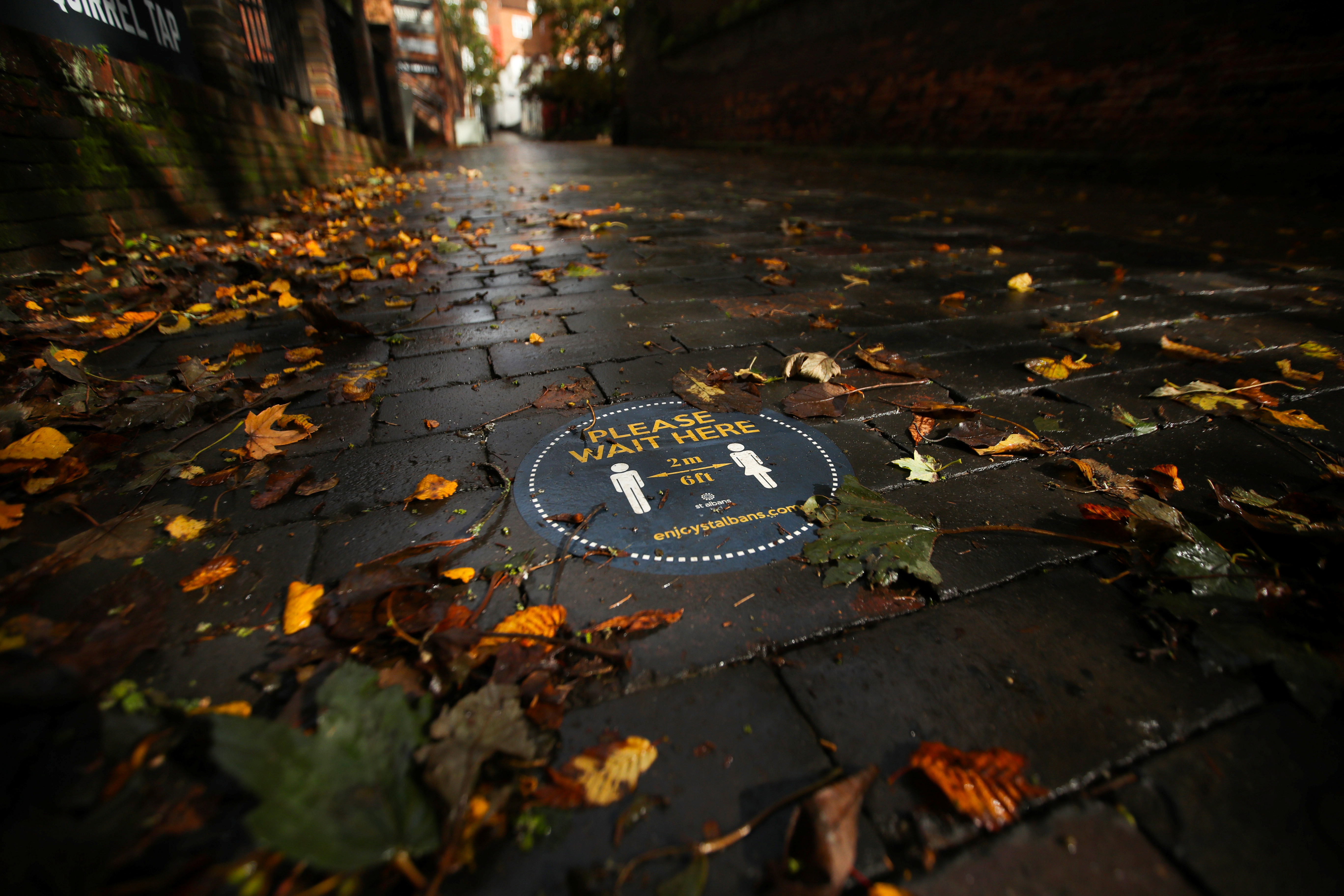 A social distancing sign is seen among autumn leaves, following the outbreak of the coronavirus disease (COVID-19), in St. Albans, Britain, October 8, 2020.  REUTERS/Peter Cziborra - RC2CEJ9AKYI7