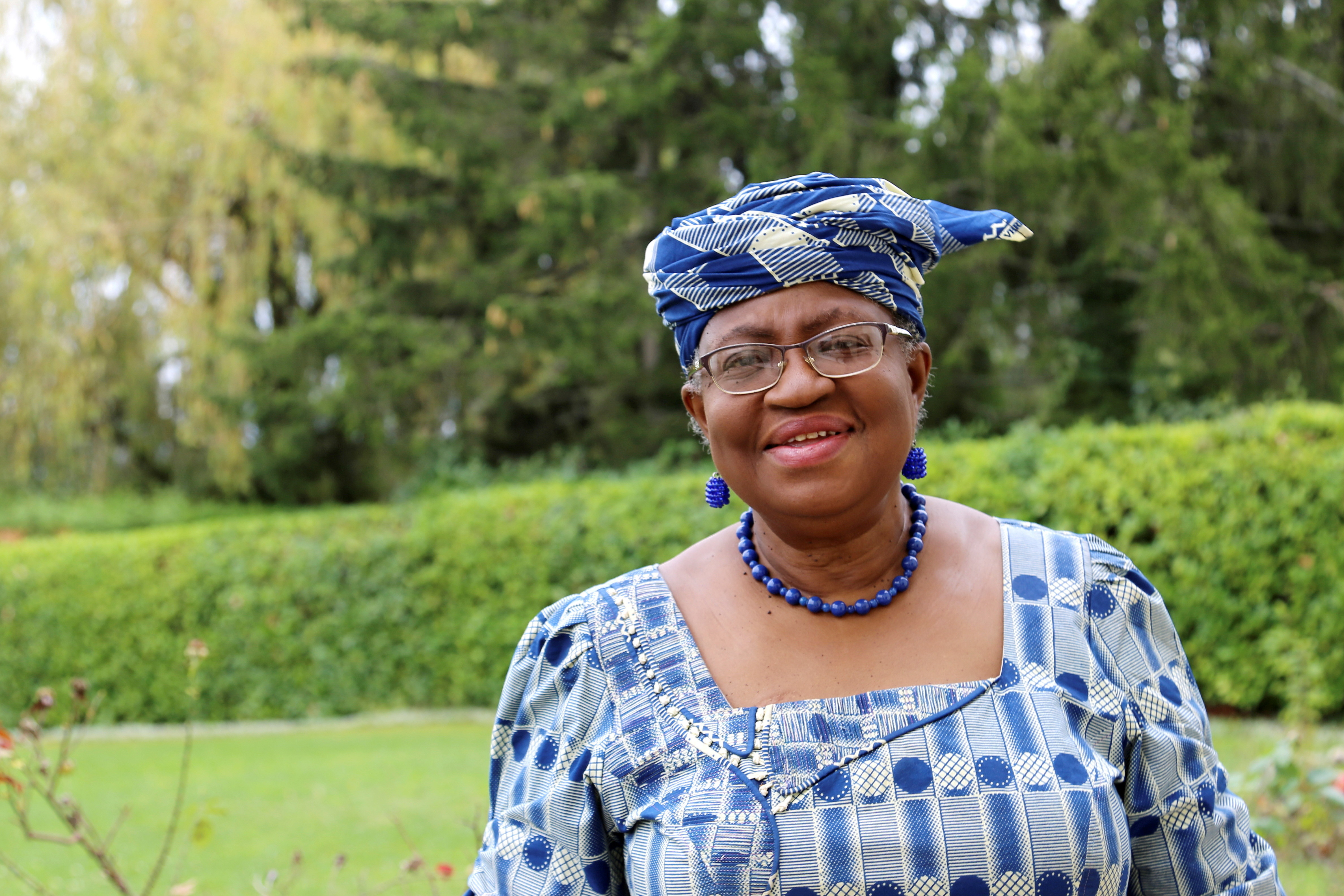 Ngozi Okonjo-Iweala poses outside a Nigerian diplomatic residence in Chambesy, near Geneva, Switzerland