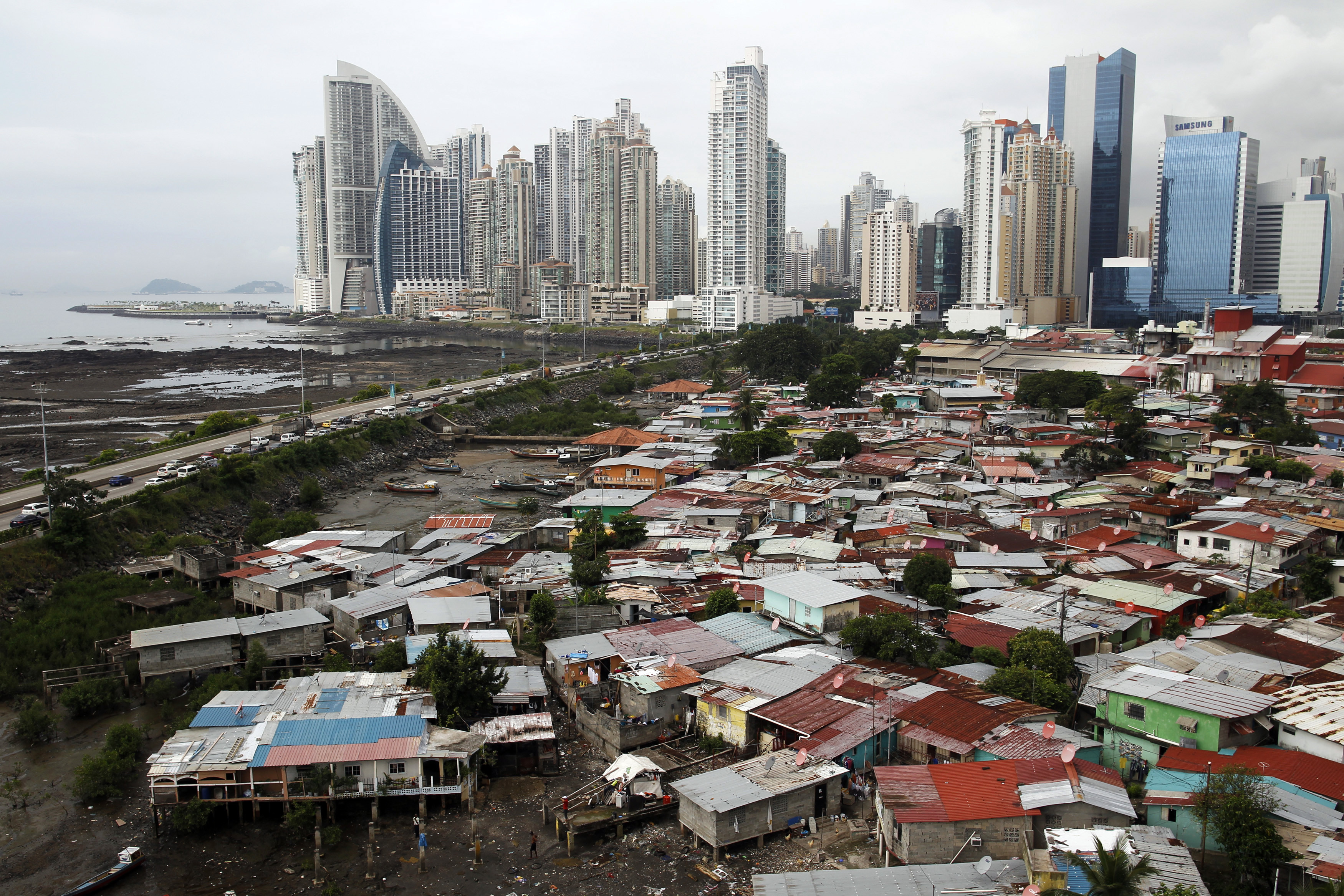A low-income neighborhood adjacent to the business district in Panama City.
