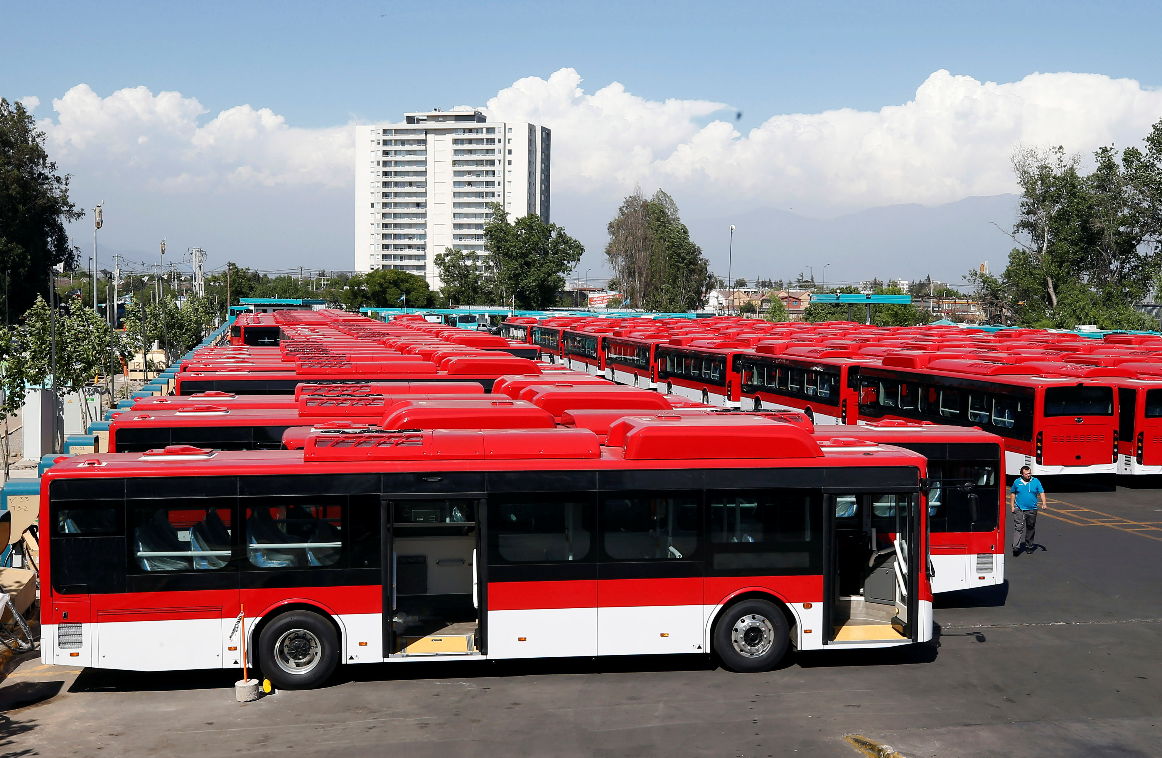 The new fleet of electric buses for public transport manufactured by China's BYD, are parked in a bus terminal in Santiago, Chile November 28, 2018.