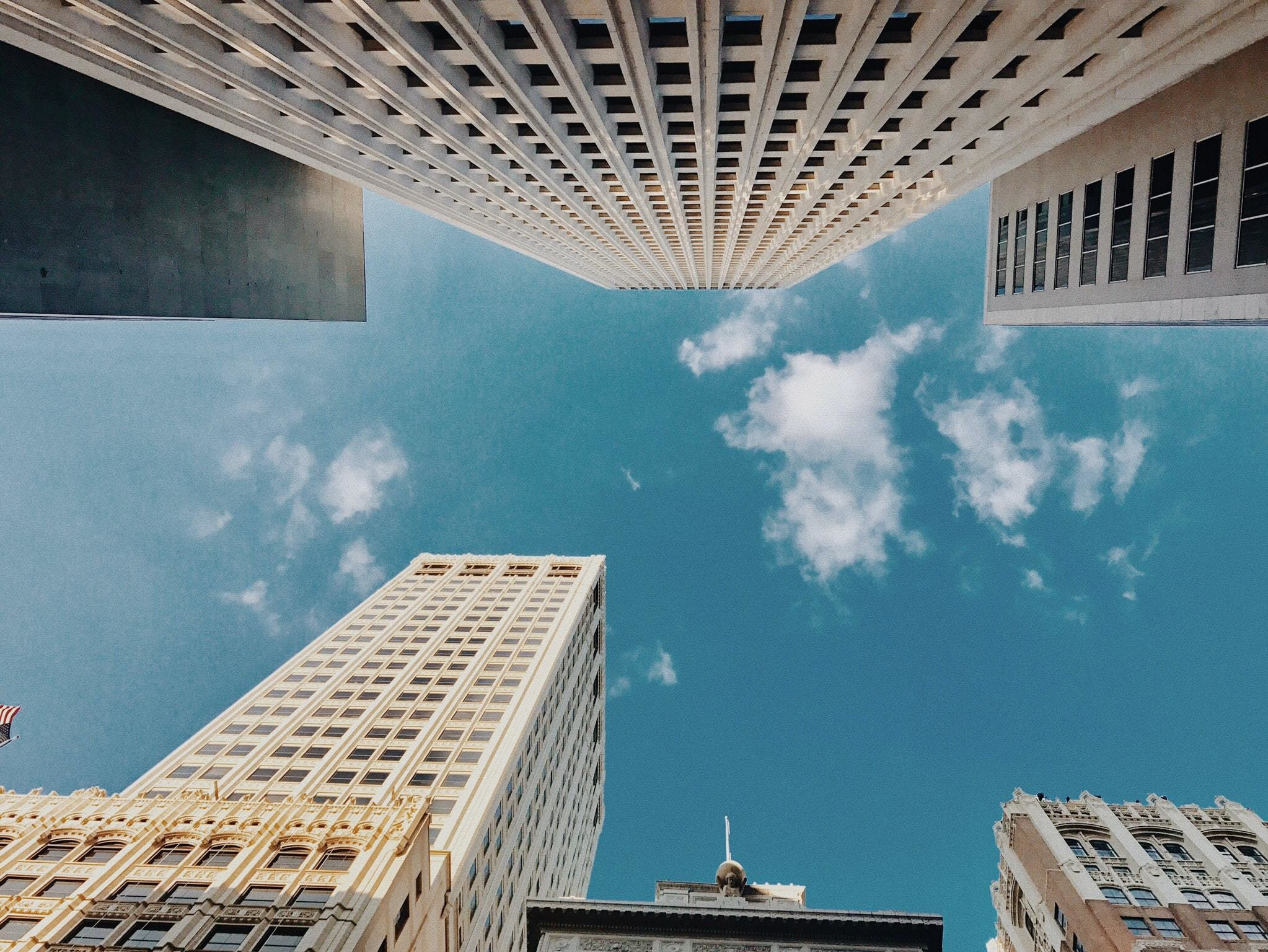 real estate in a city, shot of buildings from below