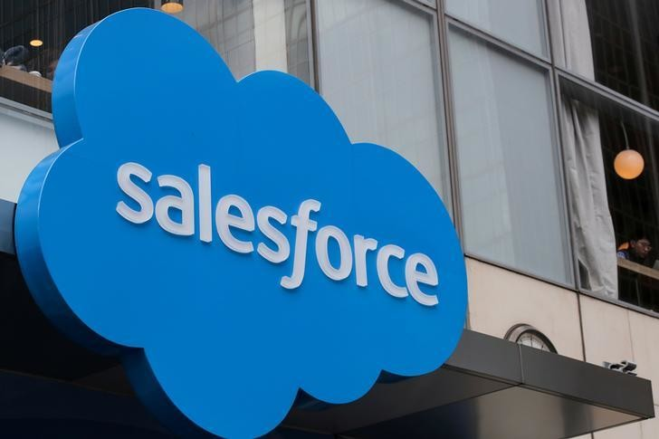 The company logo for Salesforce.com is displayed on the Salesforce Tower in New York City, U.S., March 7, 2019.