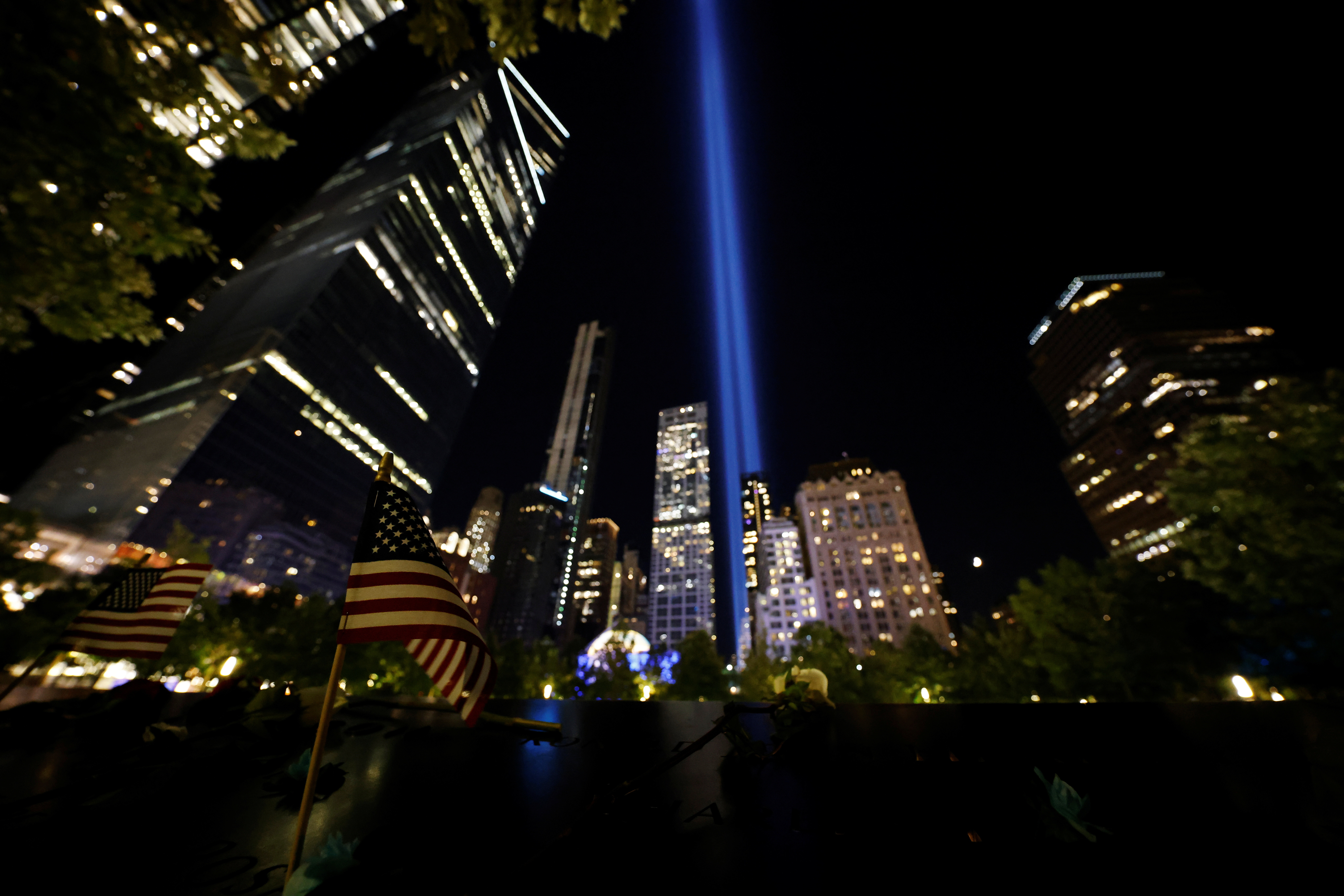 The Tribute in Light art installation is seen from the National September 11 Memorial on the day marking the 20th anniversary of the September 11, 2001 attacks in New York City