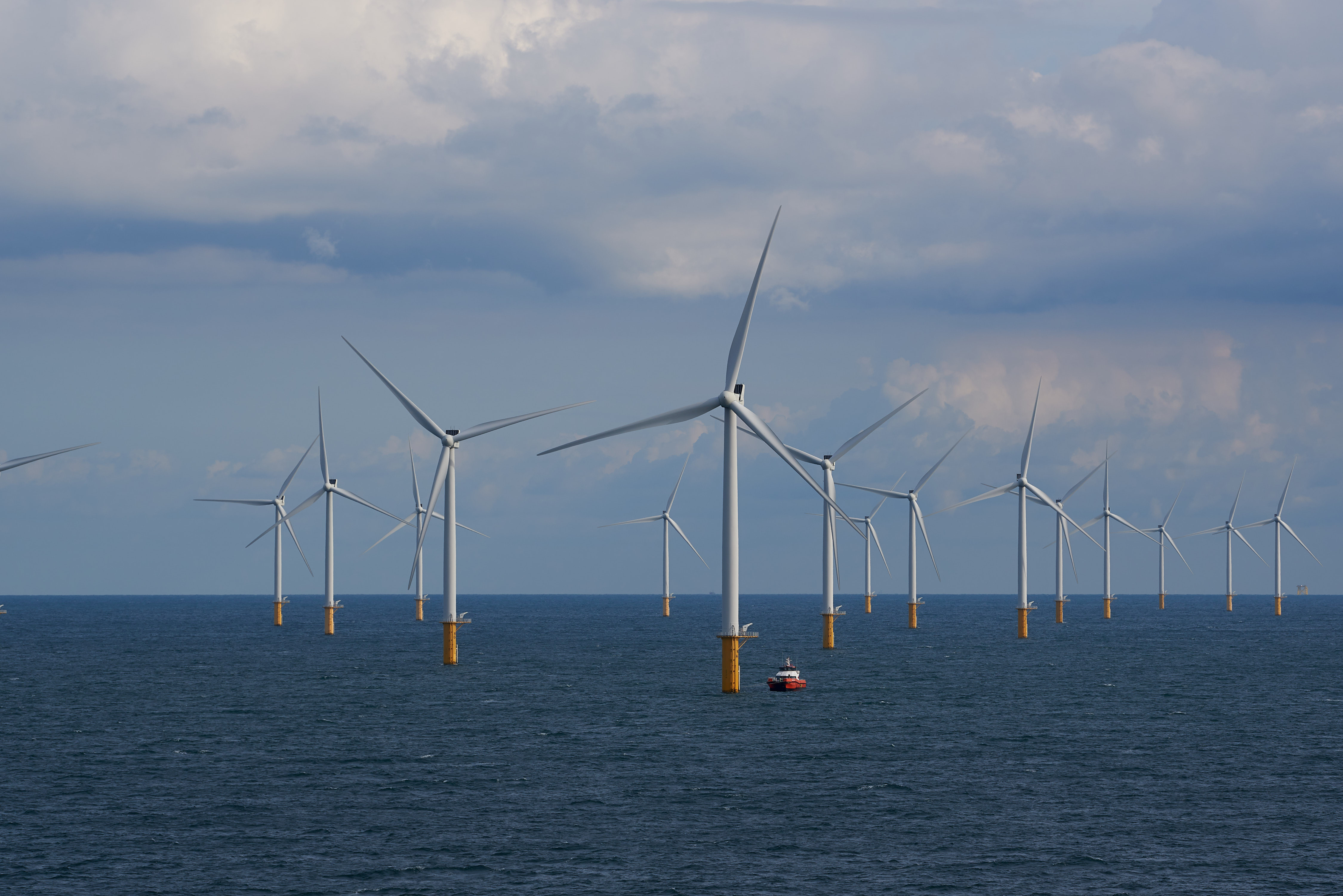 View of wind turbines from the Modular Offshore Grid (MOG) installed offshore near Belgium's coast.
