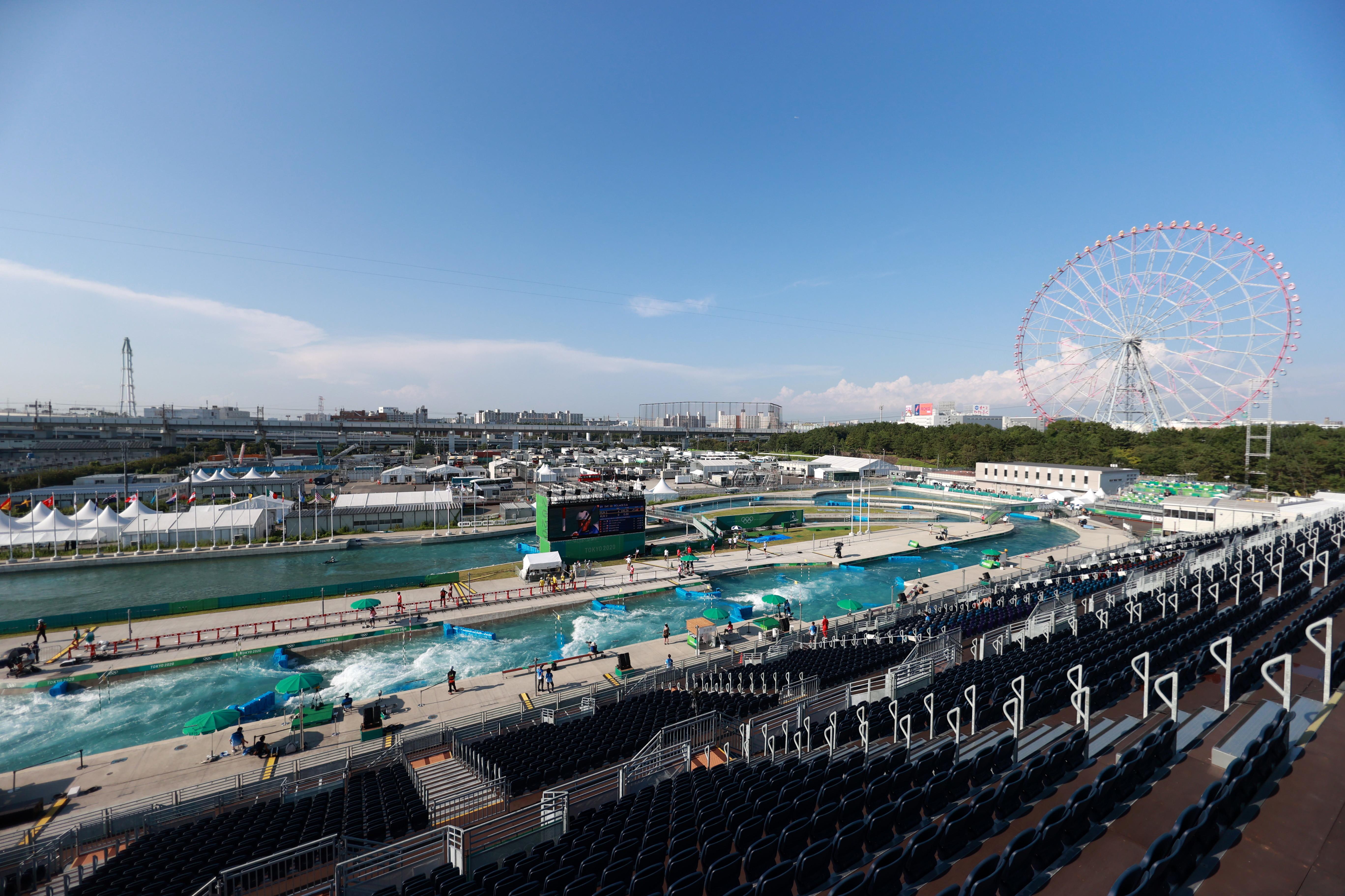 Tokyo 2020 Olympics - Canoe Slalom - Men's K1 - Heats - Kasai Canoe Slalom Centre, Tokyo, Japan - July 28, 2021. General view of Kasai Canoe Slalom Centre REUTERS/Yara Nardi - SP1EH7S0K96O1