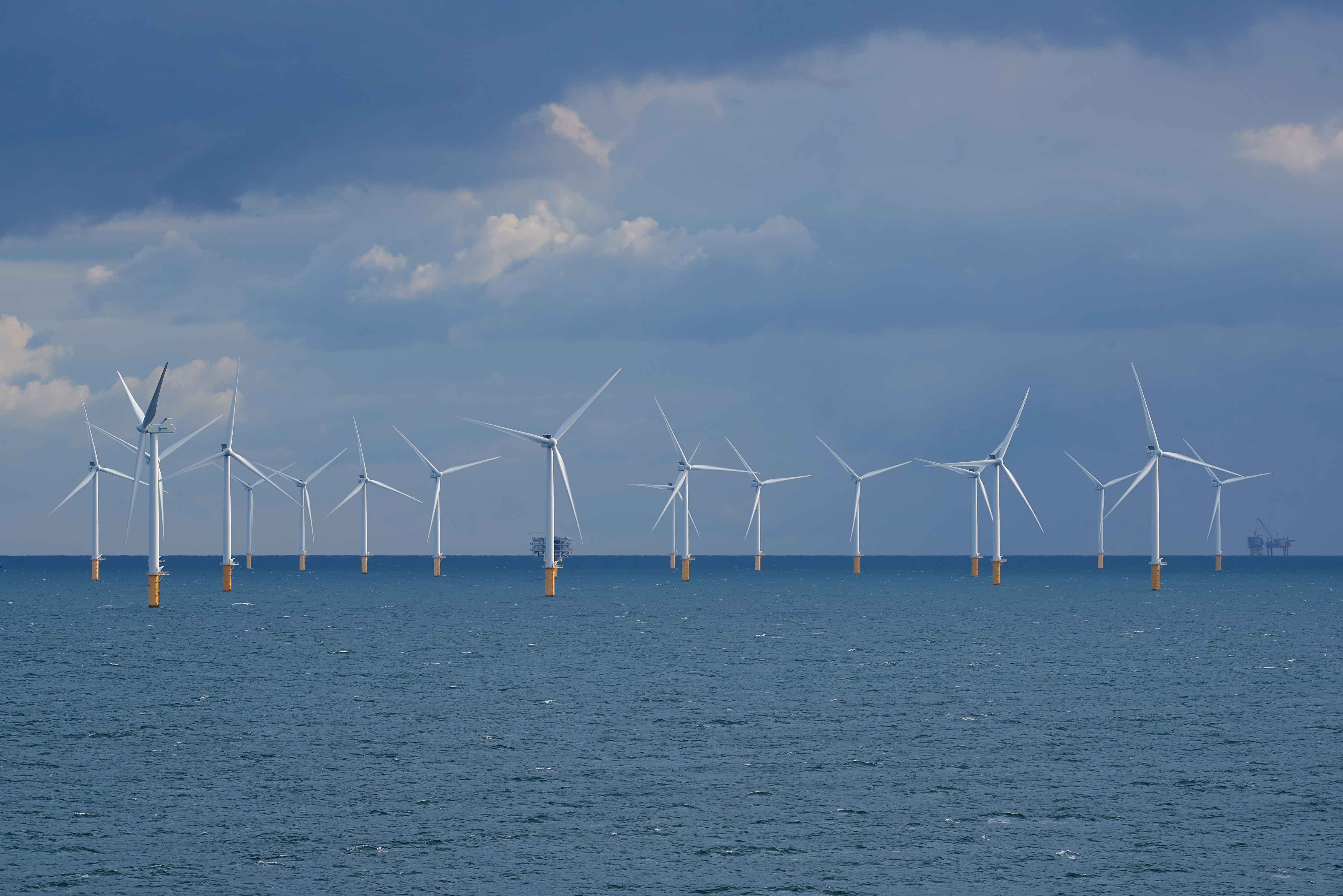 View of wind turbines from the Modular Offshore Grid (MOG) installed offshore near Belgium's coast, September 9, 2019. Picture taken September 9, 2019.  Eric Herchaft/Pool via REUTERS - RC15EDF47410