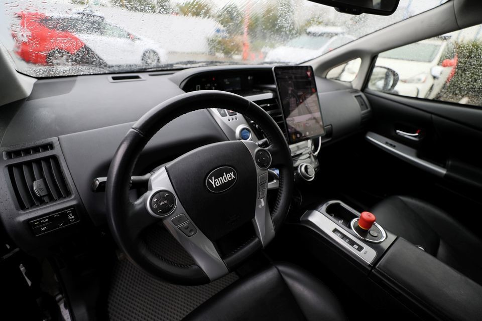 An interior view shows a self-driving car owned and tested by Yandex company during a presentation in Moscow