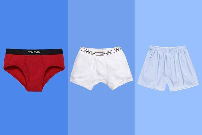 A red white and blue pair of male boxers are lined up next to each other.