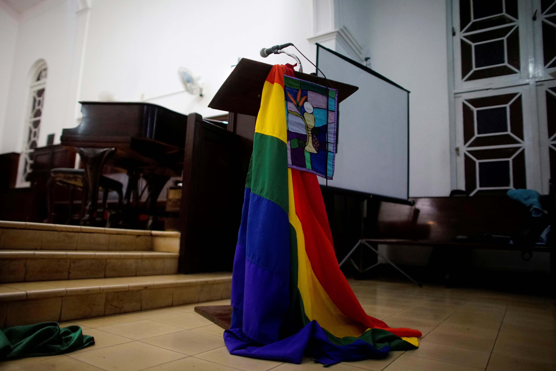 A rainbow flag decorates a chapel before a mass in Matanzas, Cuba.