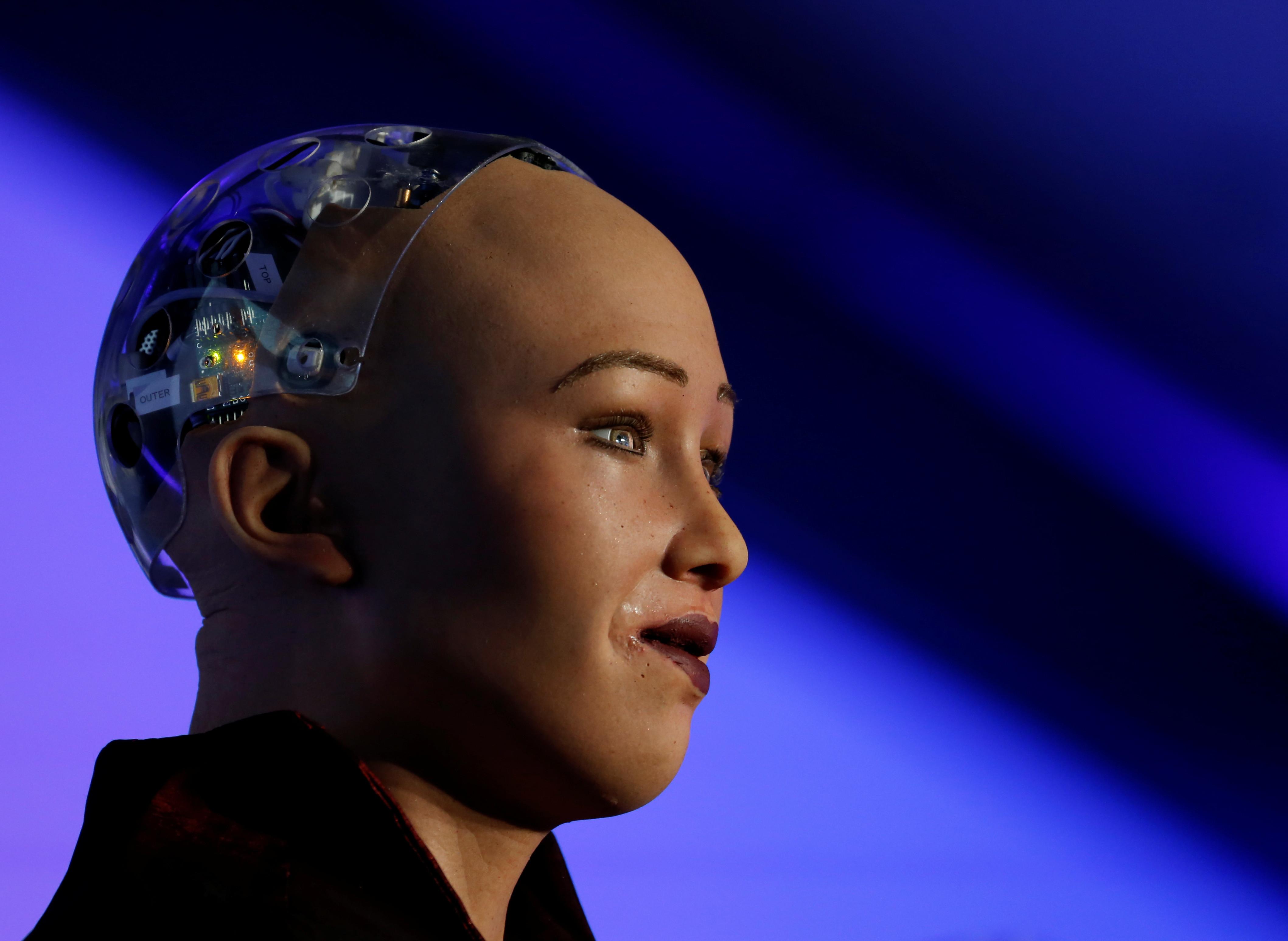 The humanoid robot Sophia, a creation of Hanson Robotics, is seen during a presentation at the Malta Blockchain Summit in St Julian's, Malta November 1, 2018. REUTERS/Darrin Zammit Lupi - RC1BD8D71FE0