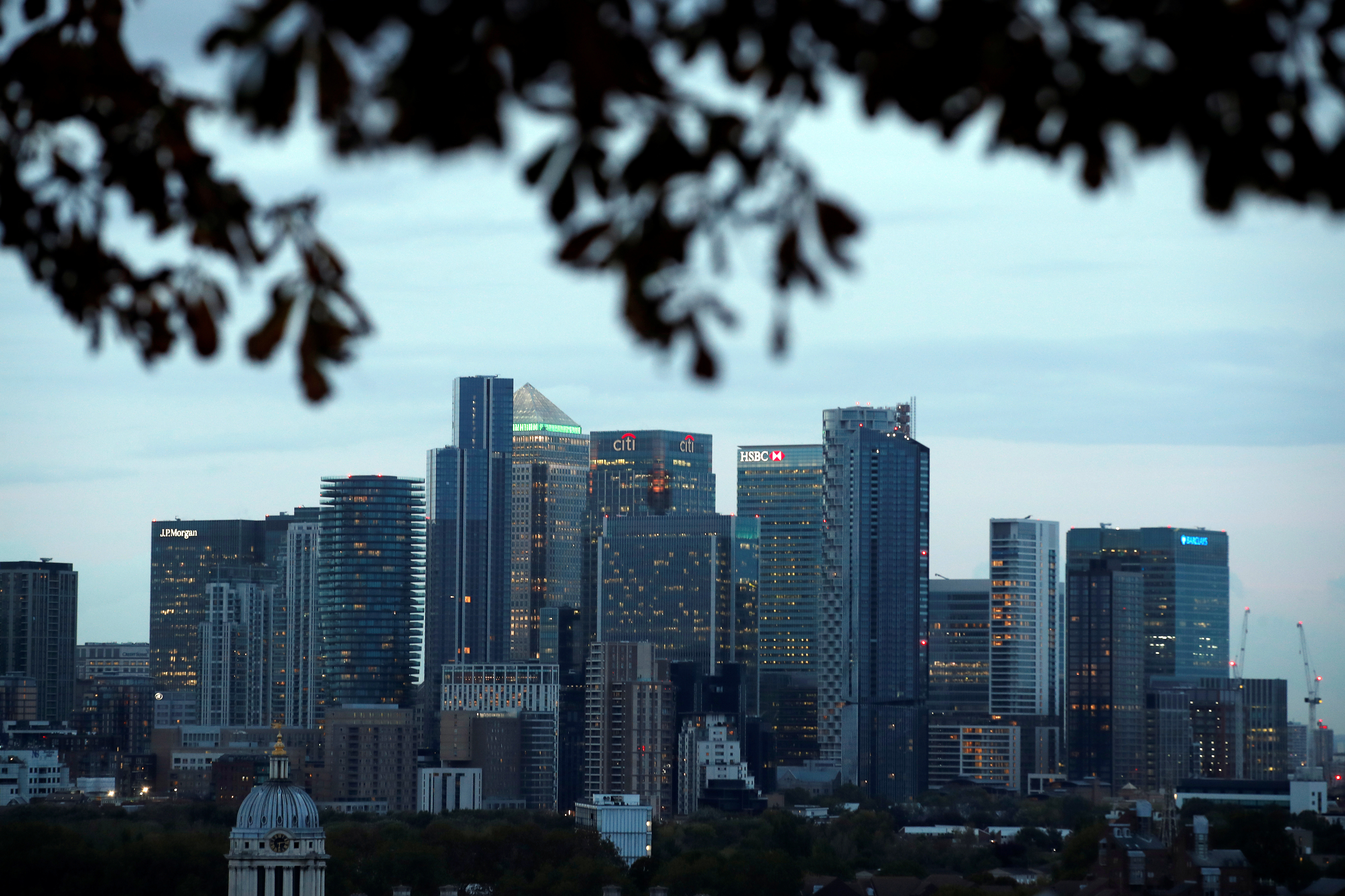 A view of Canary Wharf business district in London, Britain
