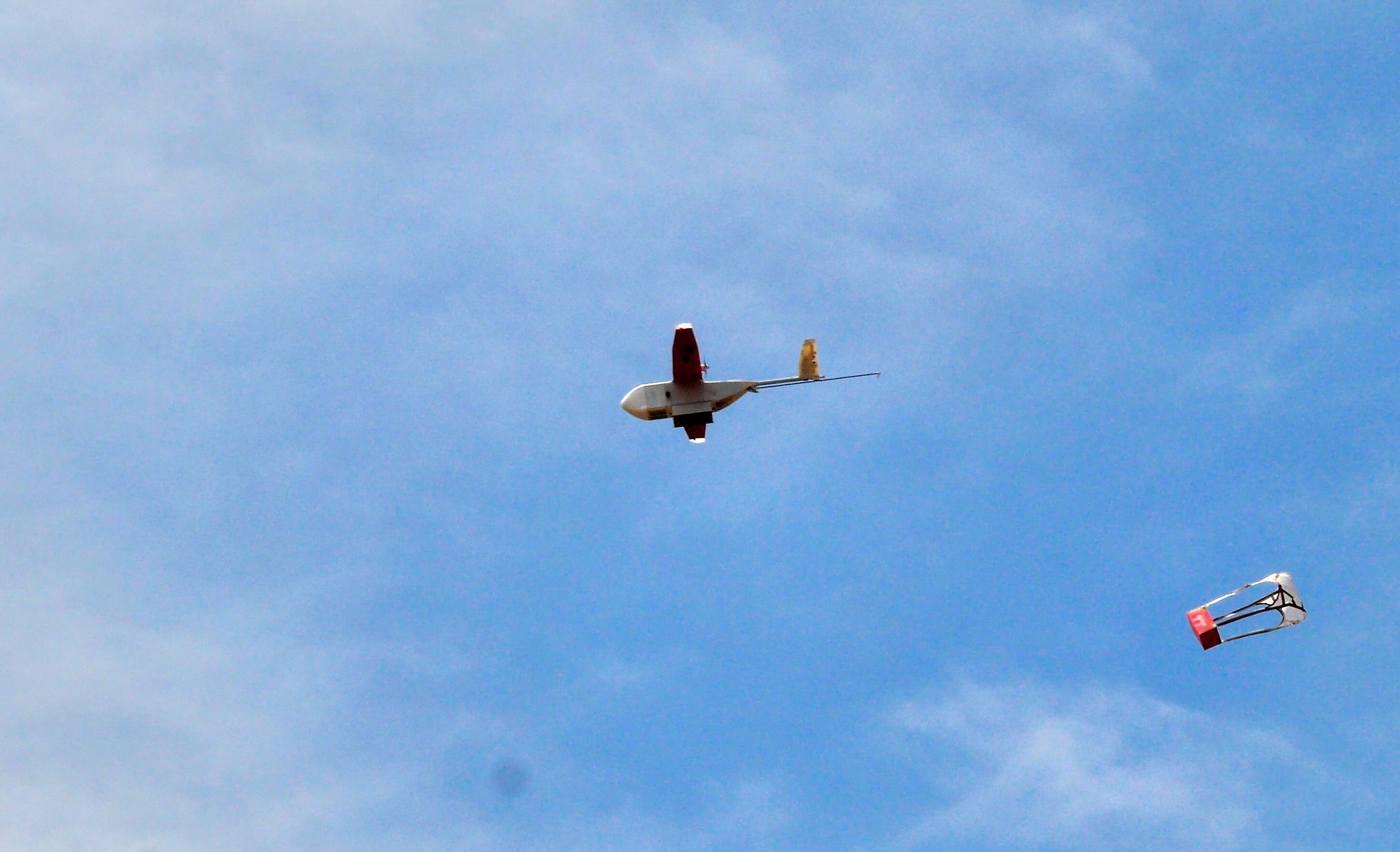 image of a Zipline drone delivering supplies