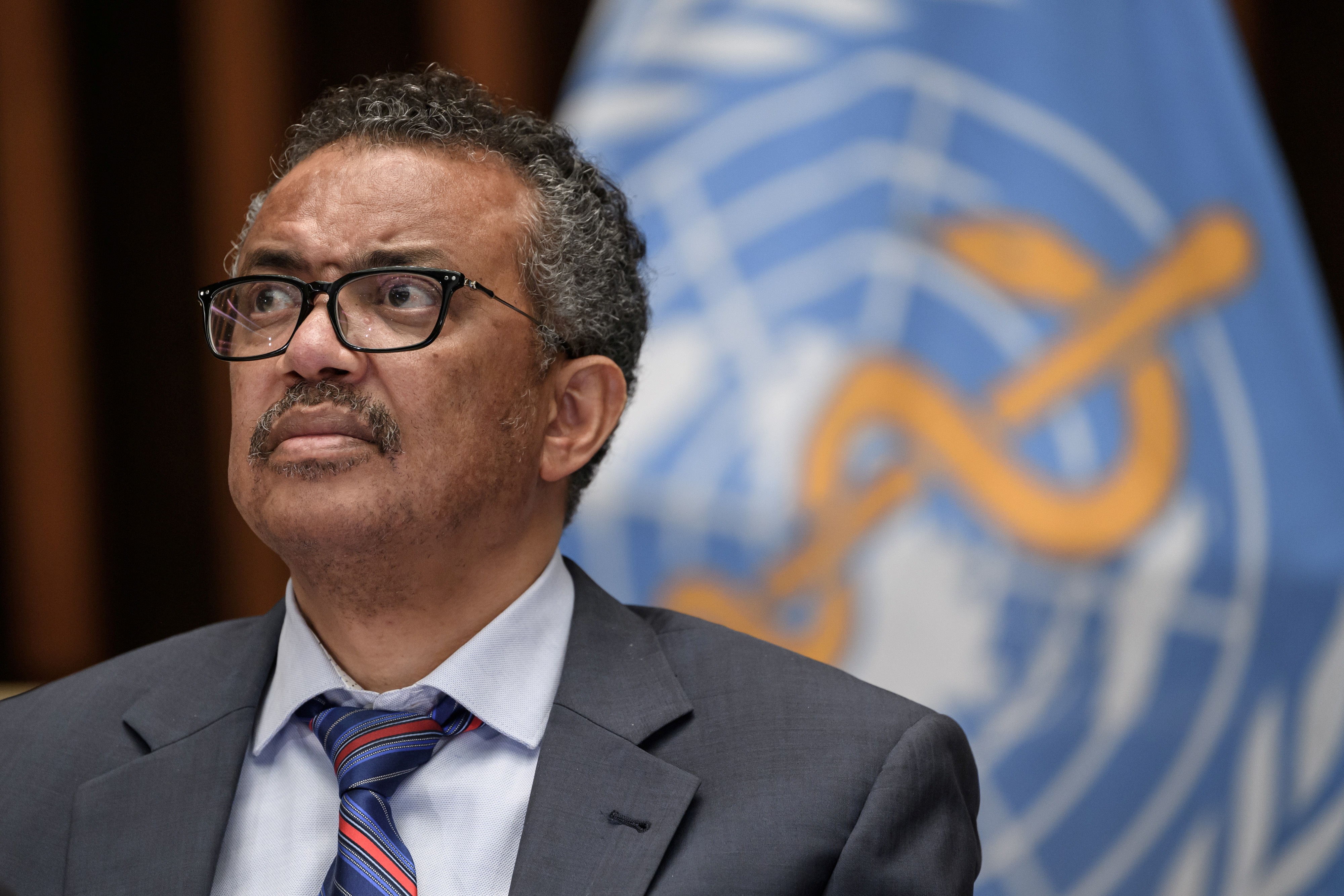World Health Organization (WHO) Director-General Tedros Adhanom Ghebreyesus attends a news conference organized by Geneva Association of United Nations Correspondents (ACANU) amid the COVID-19 outbreak, caused by the novel coronavirus, at the WHO headquarters in Geneva Switzerland July 3, 2020. Fabrice Coffrini/Pool via REUTERS - RC2SLH9R8O78