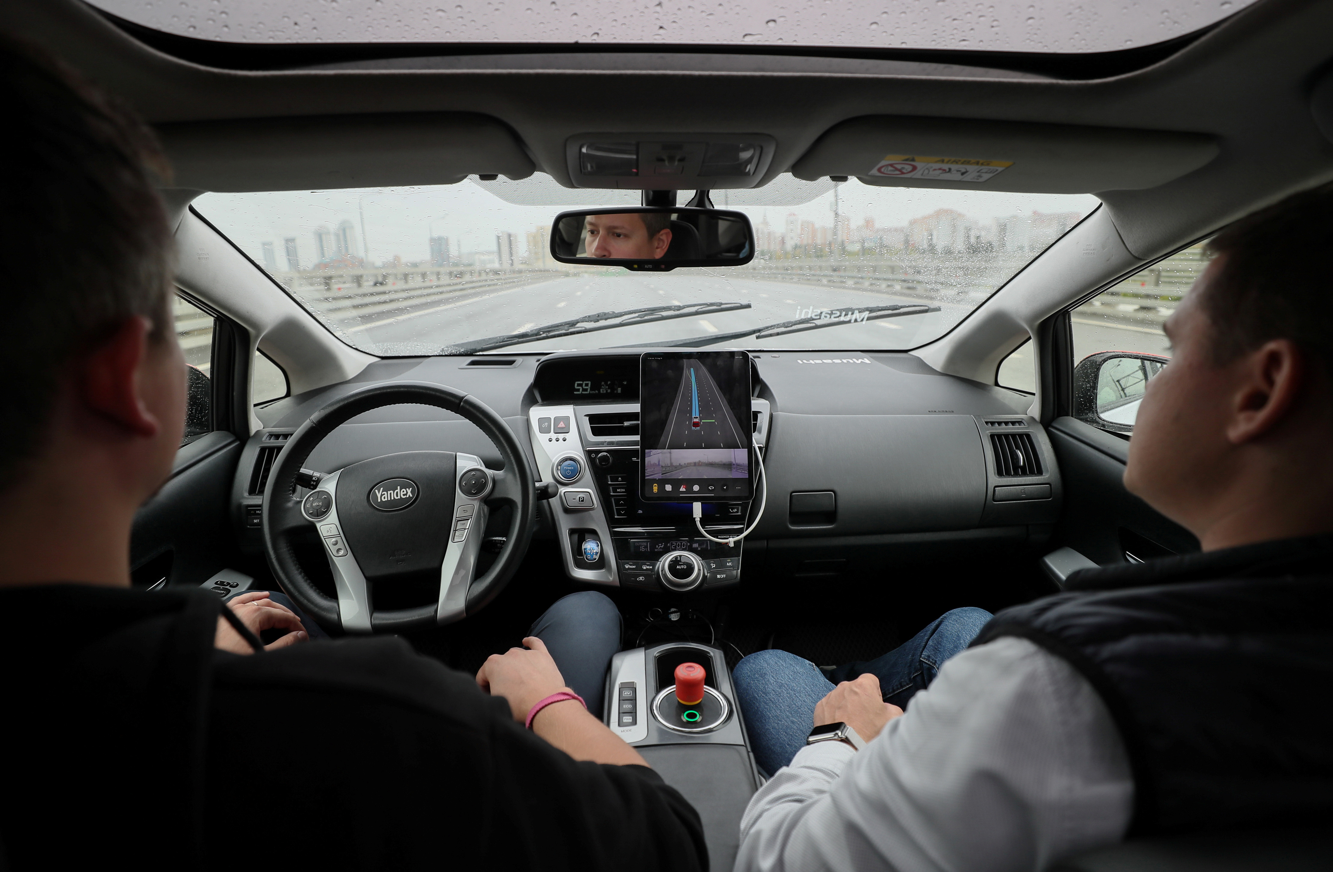 An interior view shows a self-driving car owned and tested by Yandex company during a presentation in Moscow, Russia August 16, 2019. Picture taken August 16, 2019. REUTERS/Evgenia Novozhenina - RC1ED9022F40