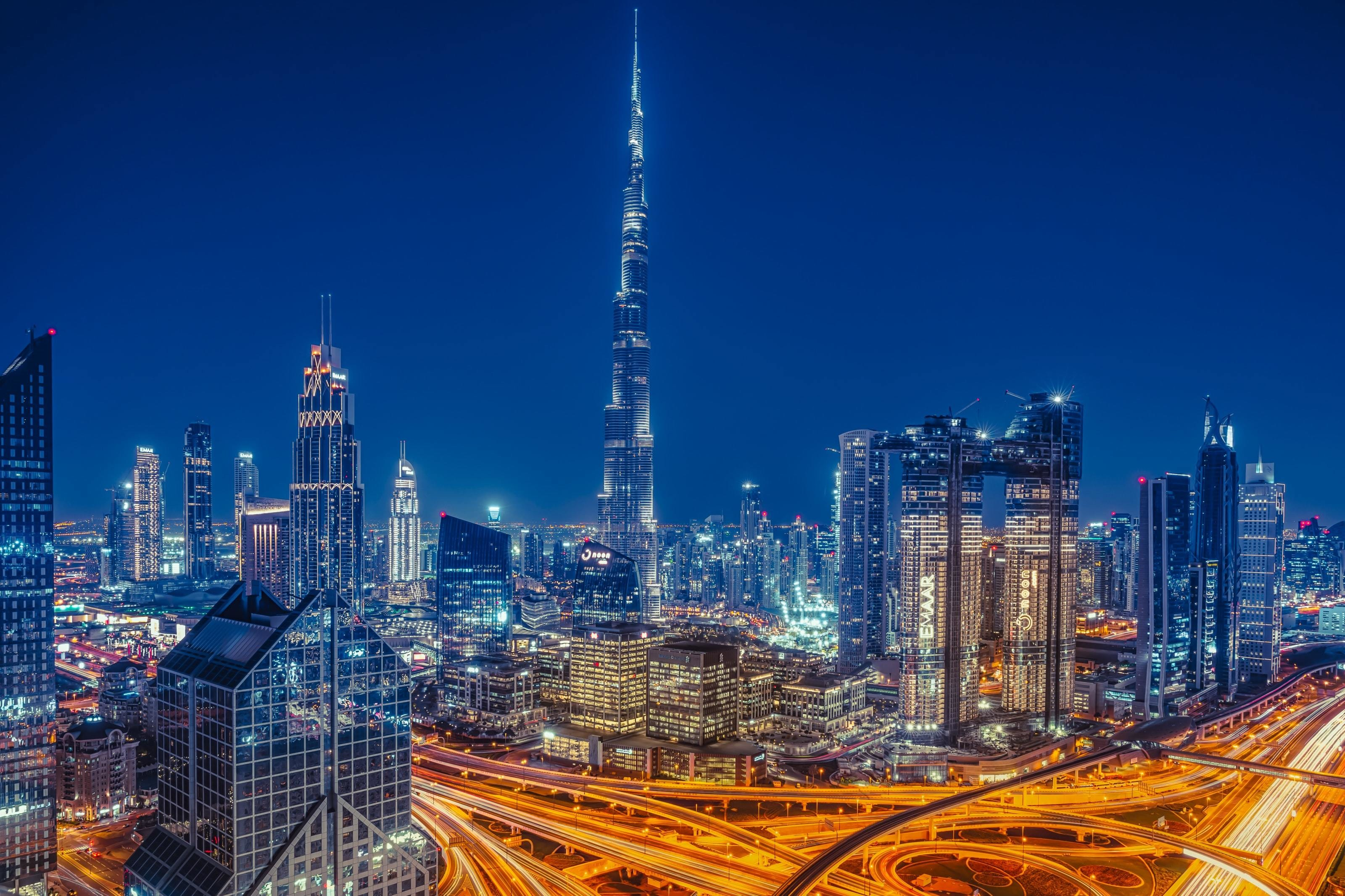 City skyscape of Dubai at night.