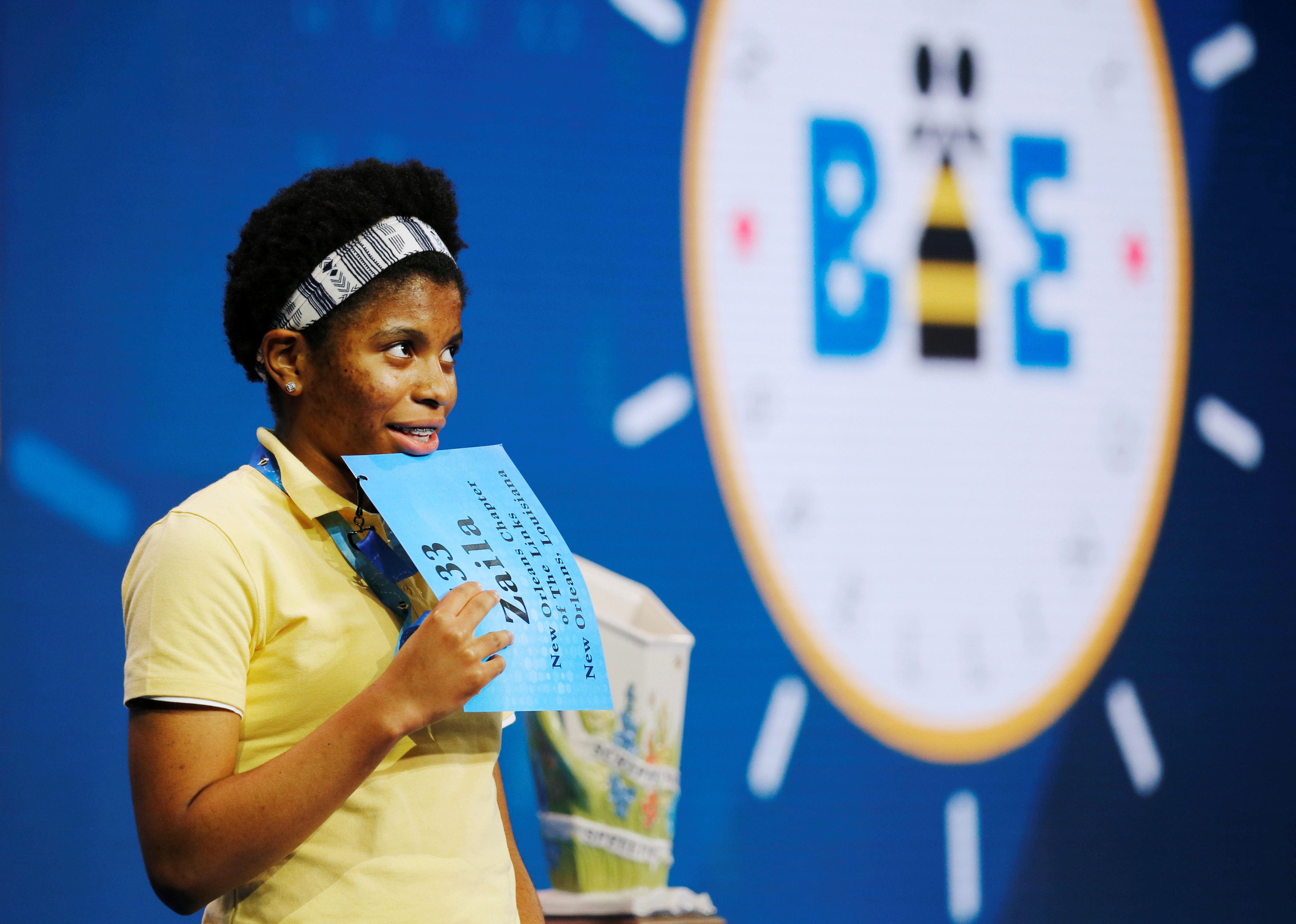 Zaila Avant-garde, 14, from New Orleans, Louisiana, takes part in the 2021 Scripps National Spelling Bee Finals at Disney World