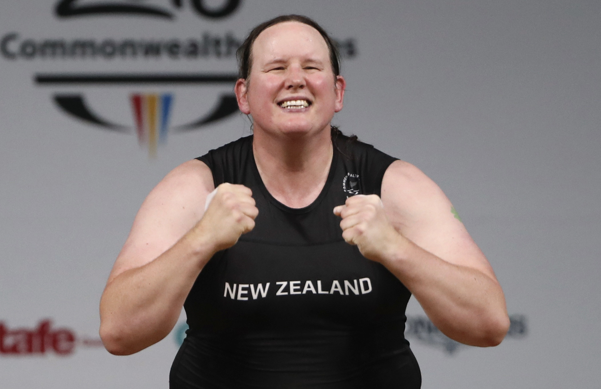 Laurel Hubbard is shown celebrating in the weightlifting category of the Gold Coast 2018 Commonwealth Games