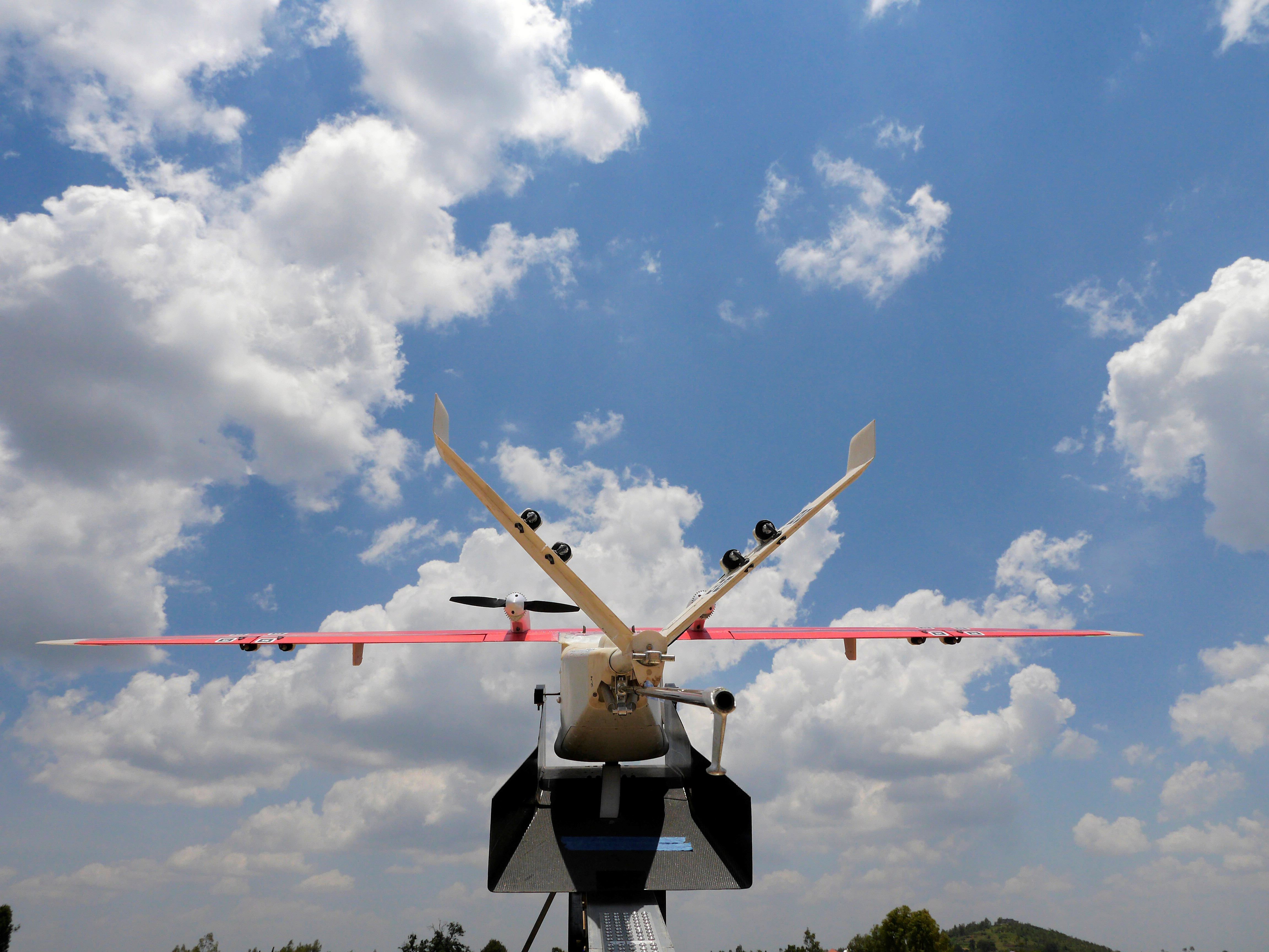 A drone is placed on a launch pad at operations center in Muhanda, south of Rwanda's capital Kigali where Zipline, a California-based robotics company delivered their first blood to patients using a drone October 12, 2016. Picture taken October 12, 2016. REUTERS/James Akena - D1BEUHXHQIAB
