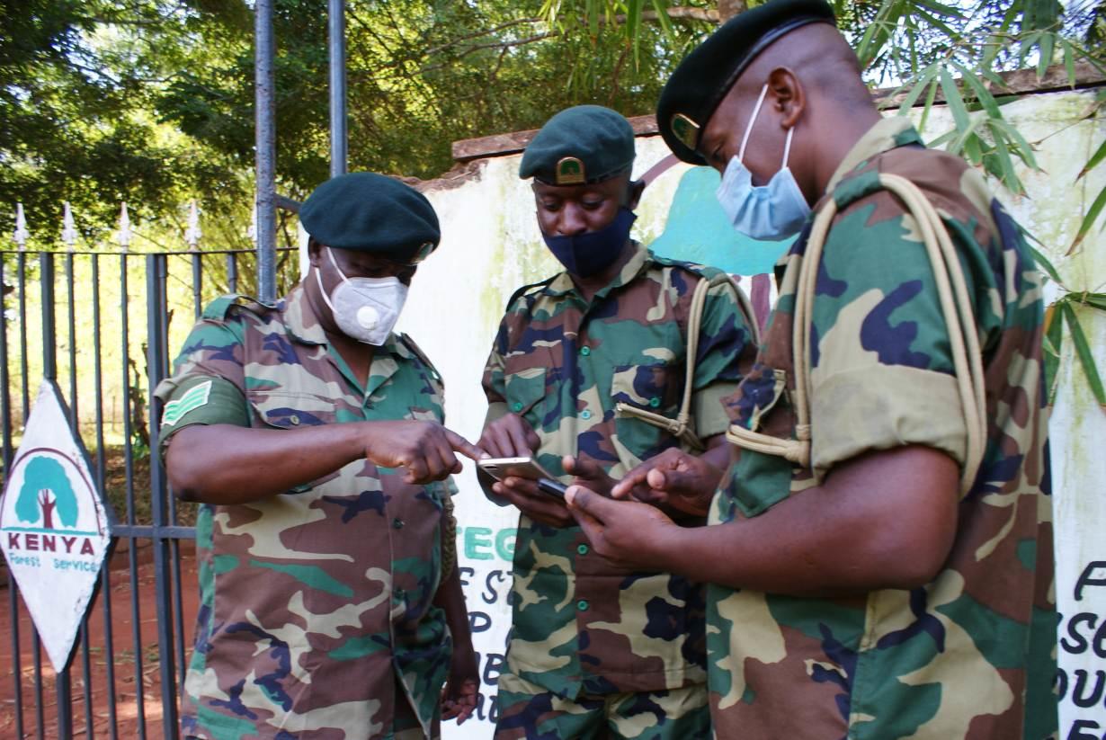image of the Kenyan Game Rangers using the app