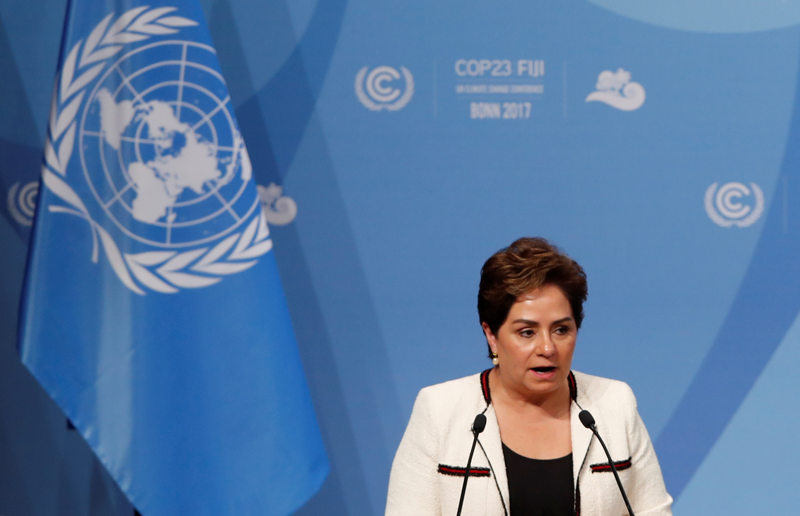 Patricia Espinosa, Executive Secretary of the United Nations Framework Convention on Climate Change talking at a conference on climate change
